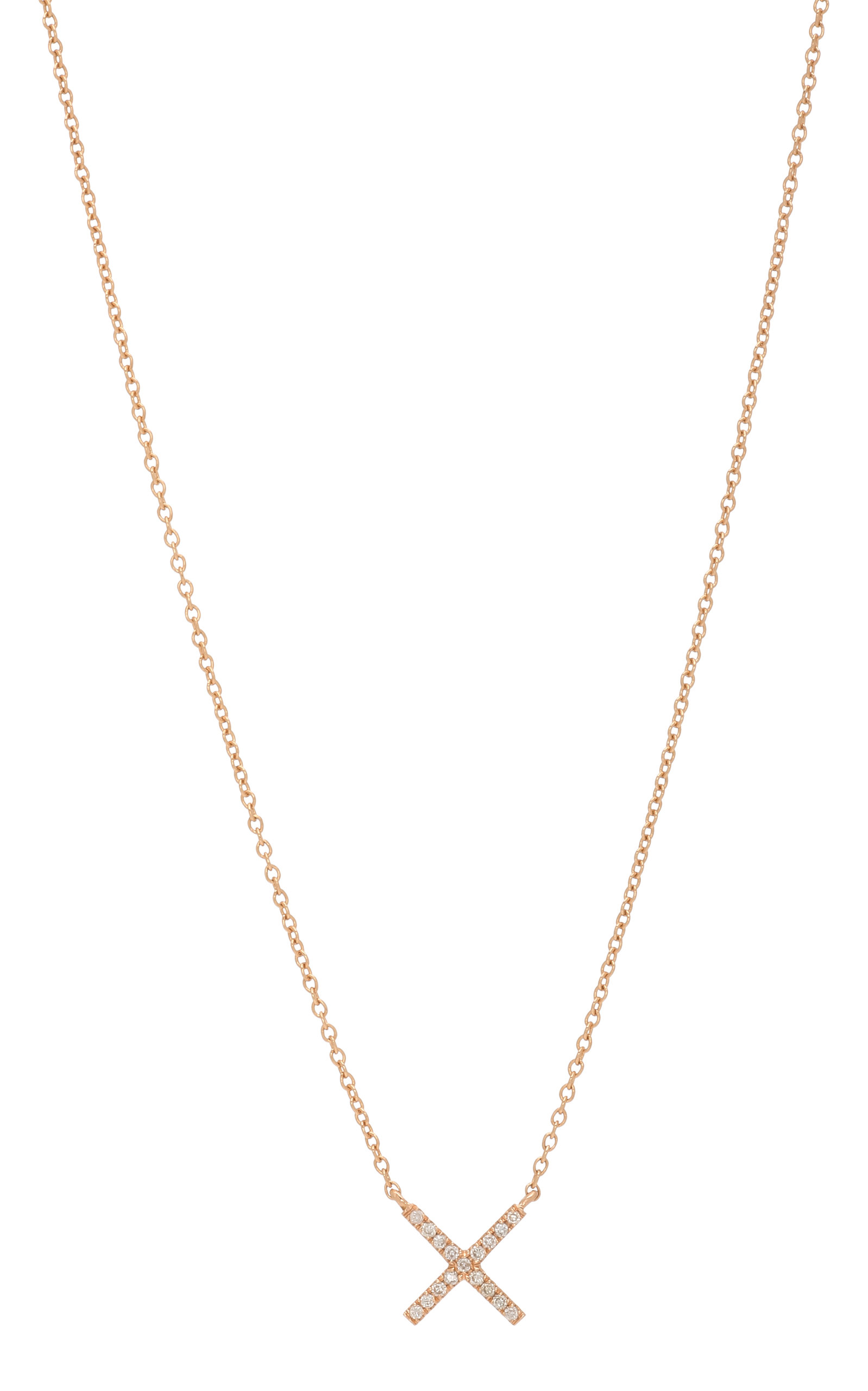 Tiny x rose gold and diamond pendant necklace by eva fehren moda tiny x rose gold and diamond pendant necklace close loading loading aloadofball Images