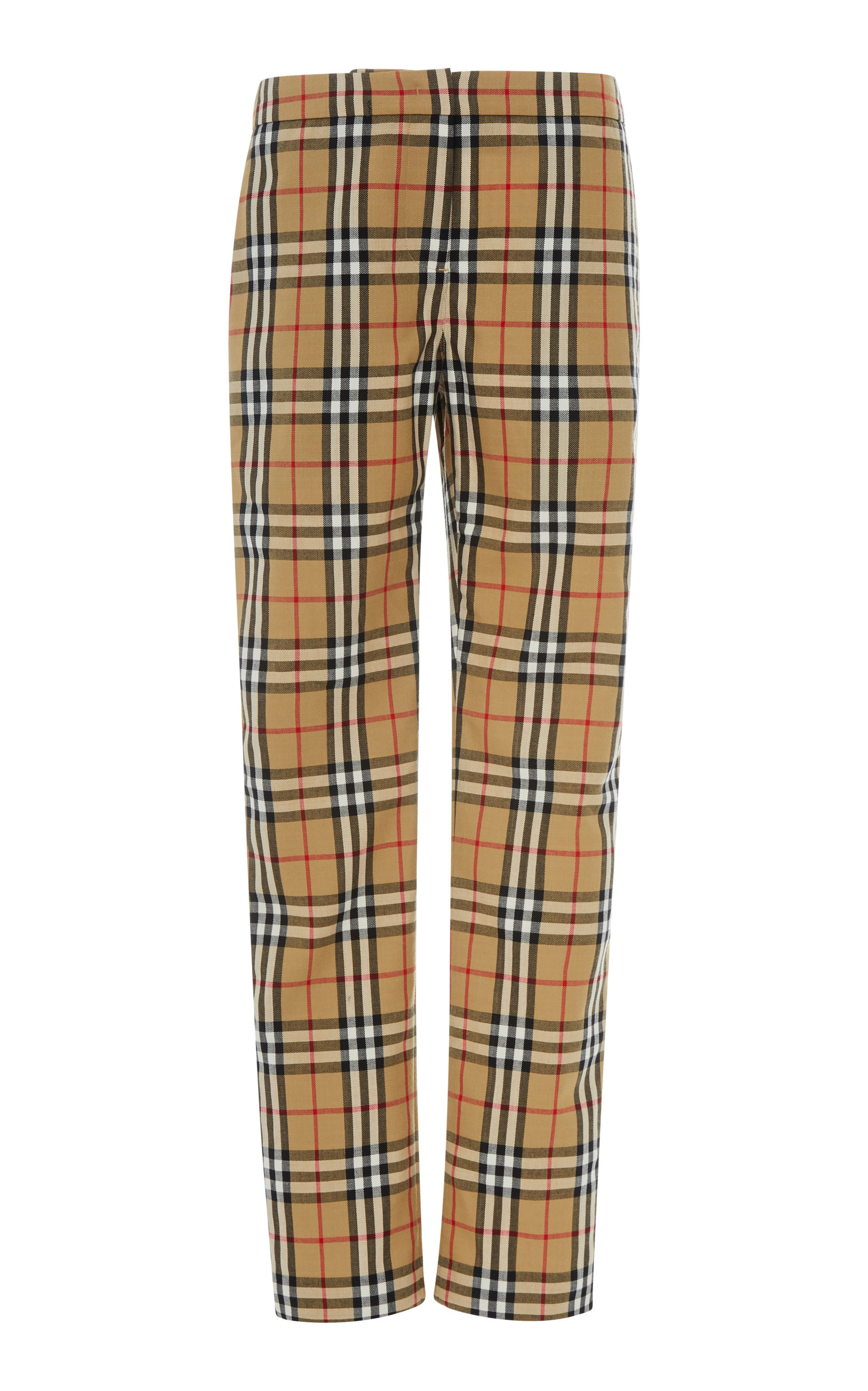 Hanover Wool-Pique Straight-Leg Trousers in Plaid