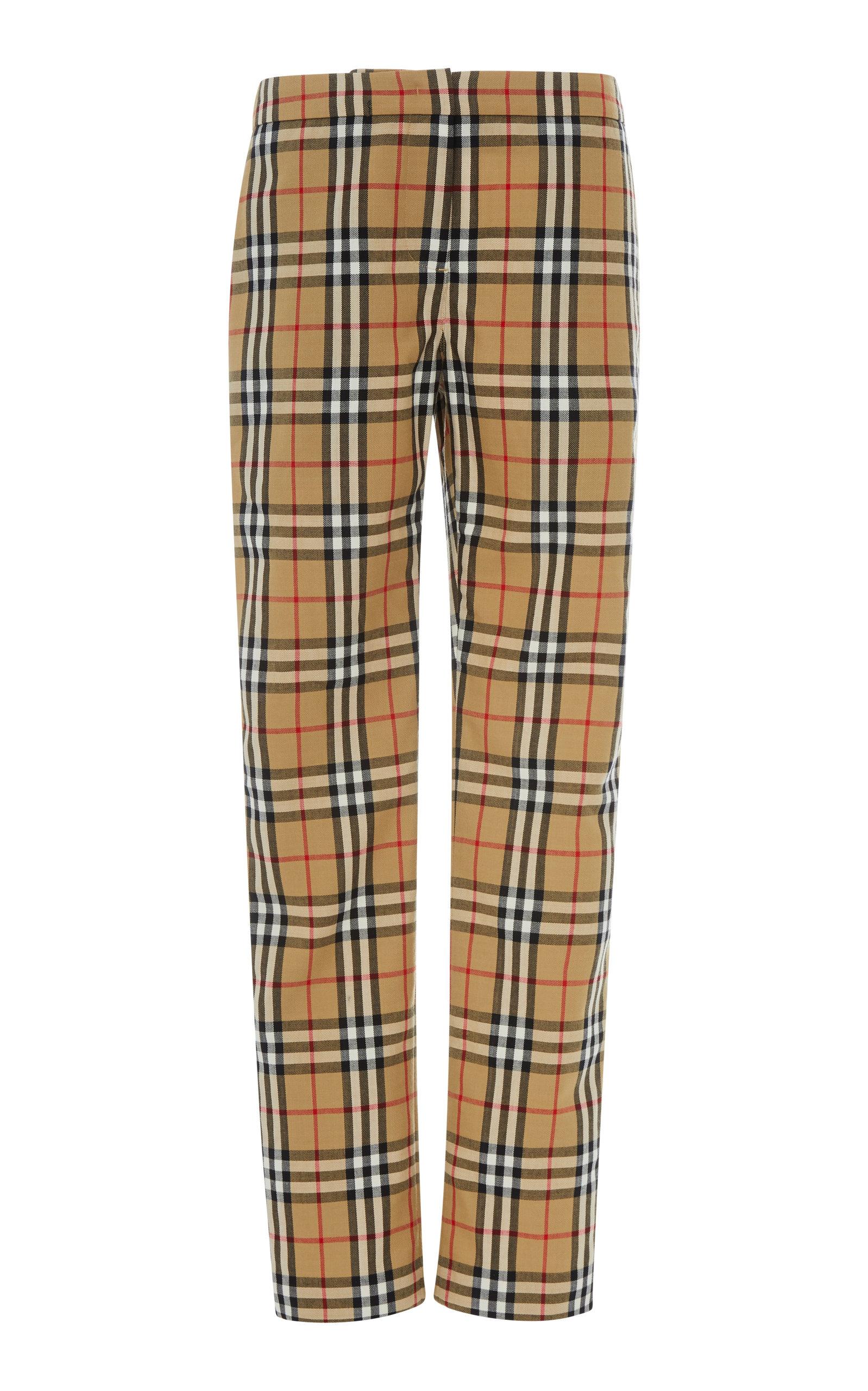 Hanover Wool-Pique Straight-Leg Trousers, Plaid