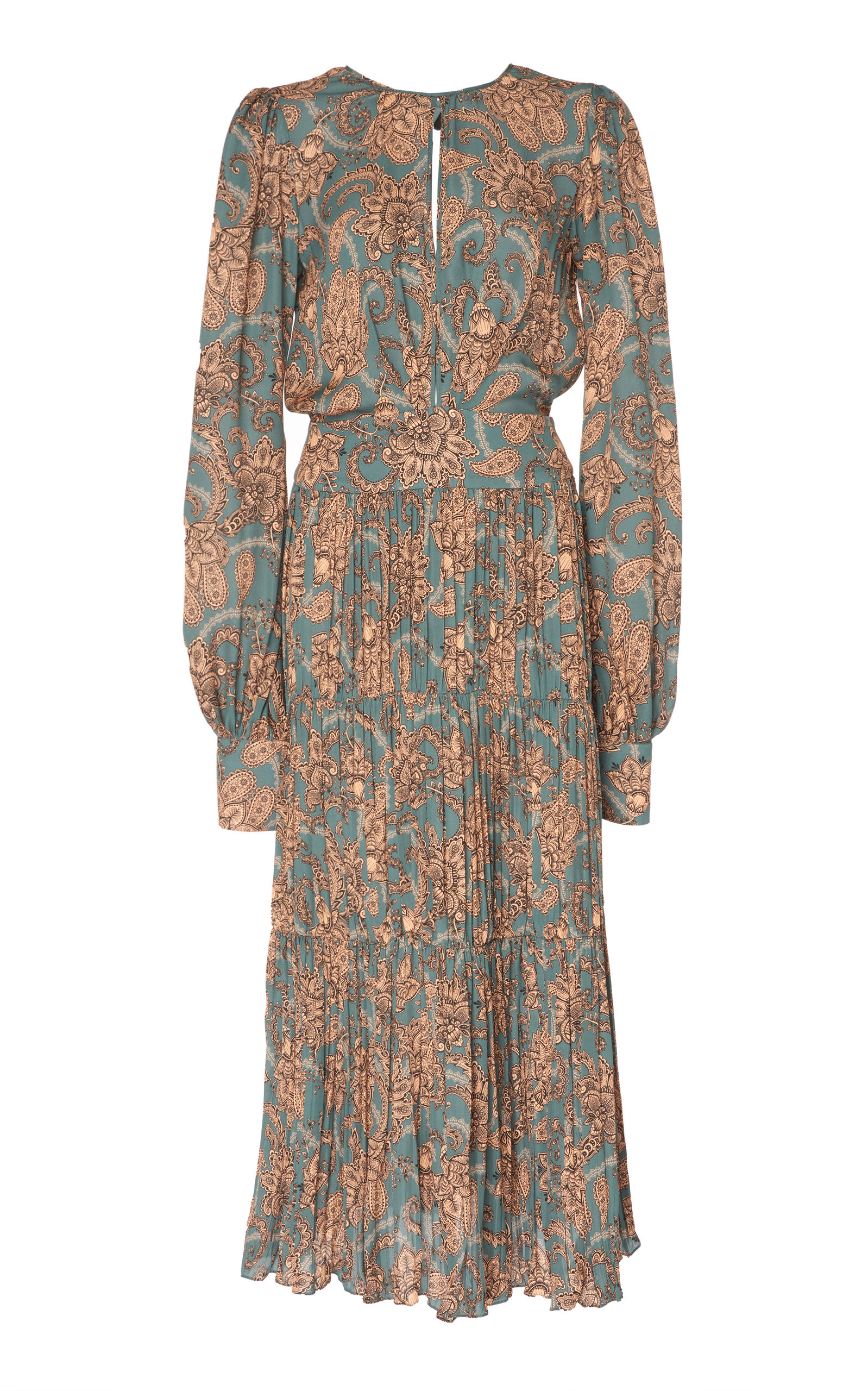 JOHANNA ORTIZ Hechiceria Long-Sleeve Keyhole-Front Paisley-Print Pleated Silk Dress W/ Tie Back