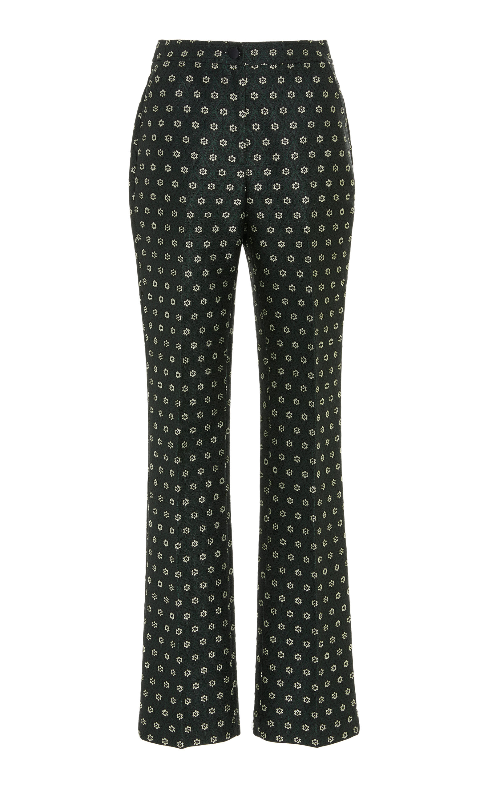 Flared Floral Jacquard Tailored Pants in Emerald