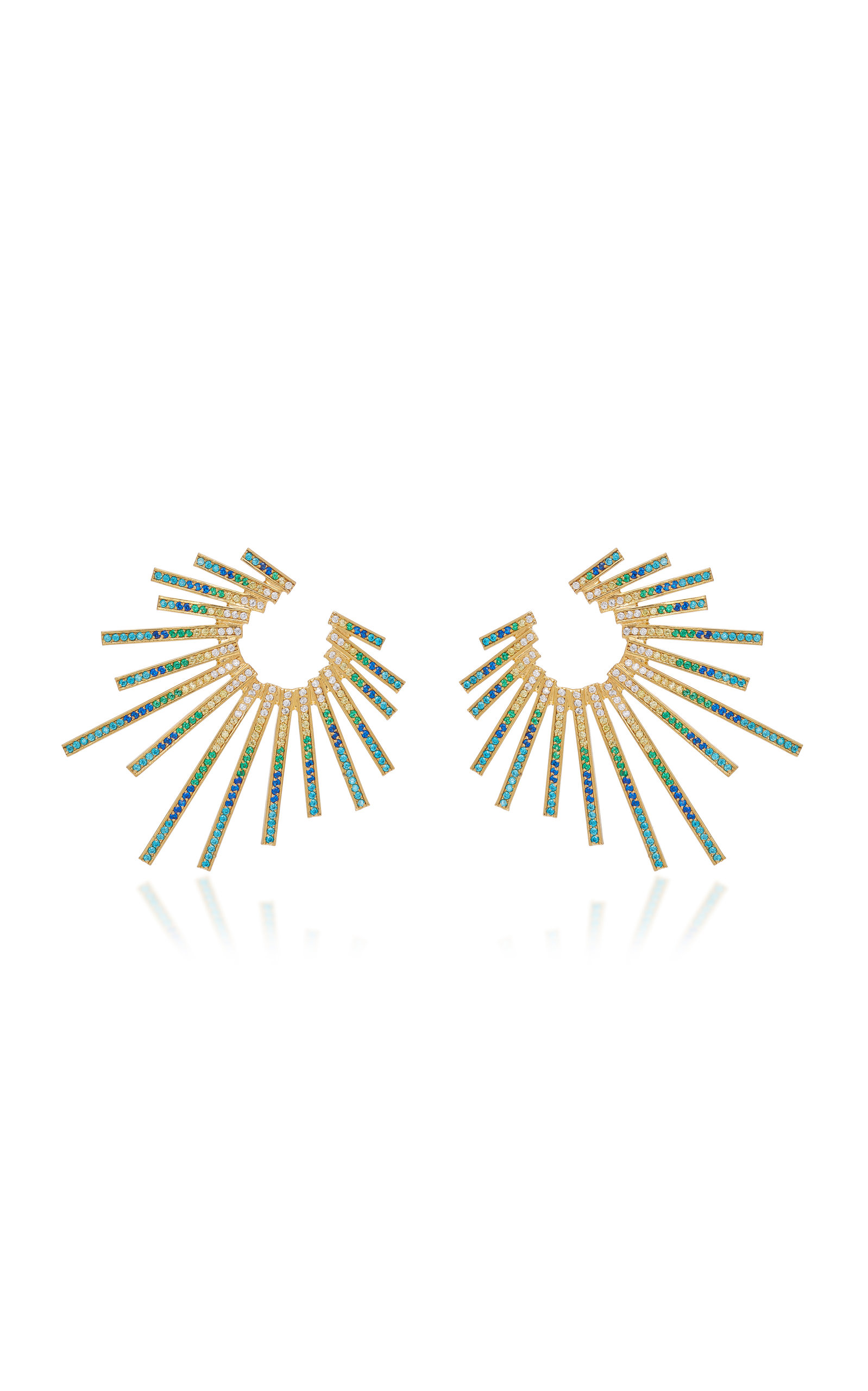 JOANNA LAURA CONSTANTINE CRISS-CROSS GOLD-PLATED BRASS AND CUBIC ZIRCONIA STATEMENT EARRINGS