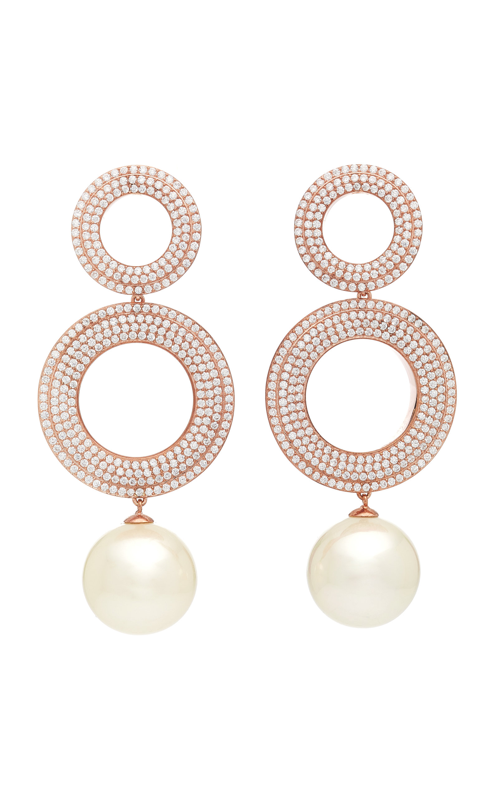 JOANNA LAURA CONSTANTINE GROMMETS GOLD-PLATED BRASS CUBIC ZIRCONIA AND PEARL EARRINGS