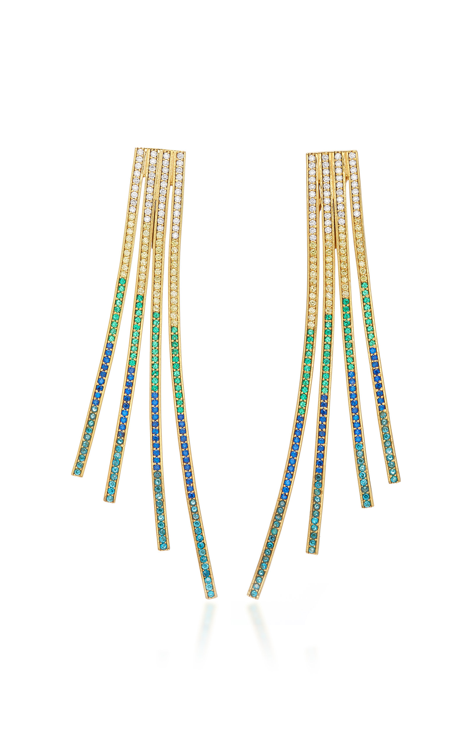 JOANNA LAURA CONSTANTINE CRISS-CROSS RAINBOW GOLD-PLATED BRASS AND CUBIC ZIRCONIA STATEMENT EARRINGS