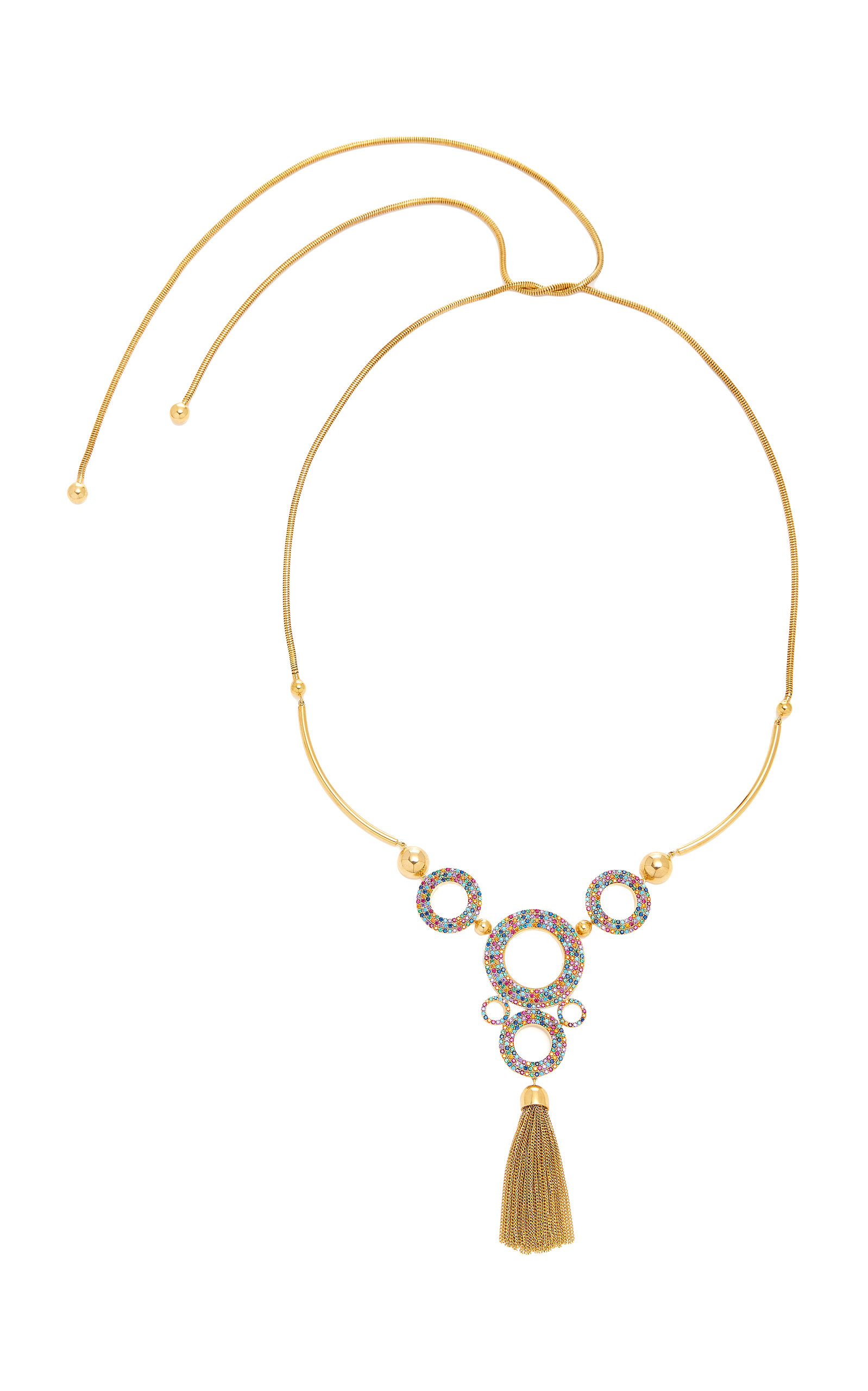 JOANNA LAURA CONSTANTINE LONG CHAIN RAINBOW GROMMETS GOLD-PLATED BRASS AND CUBIC ZIRCONIA NECKLACE