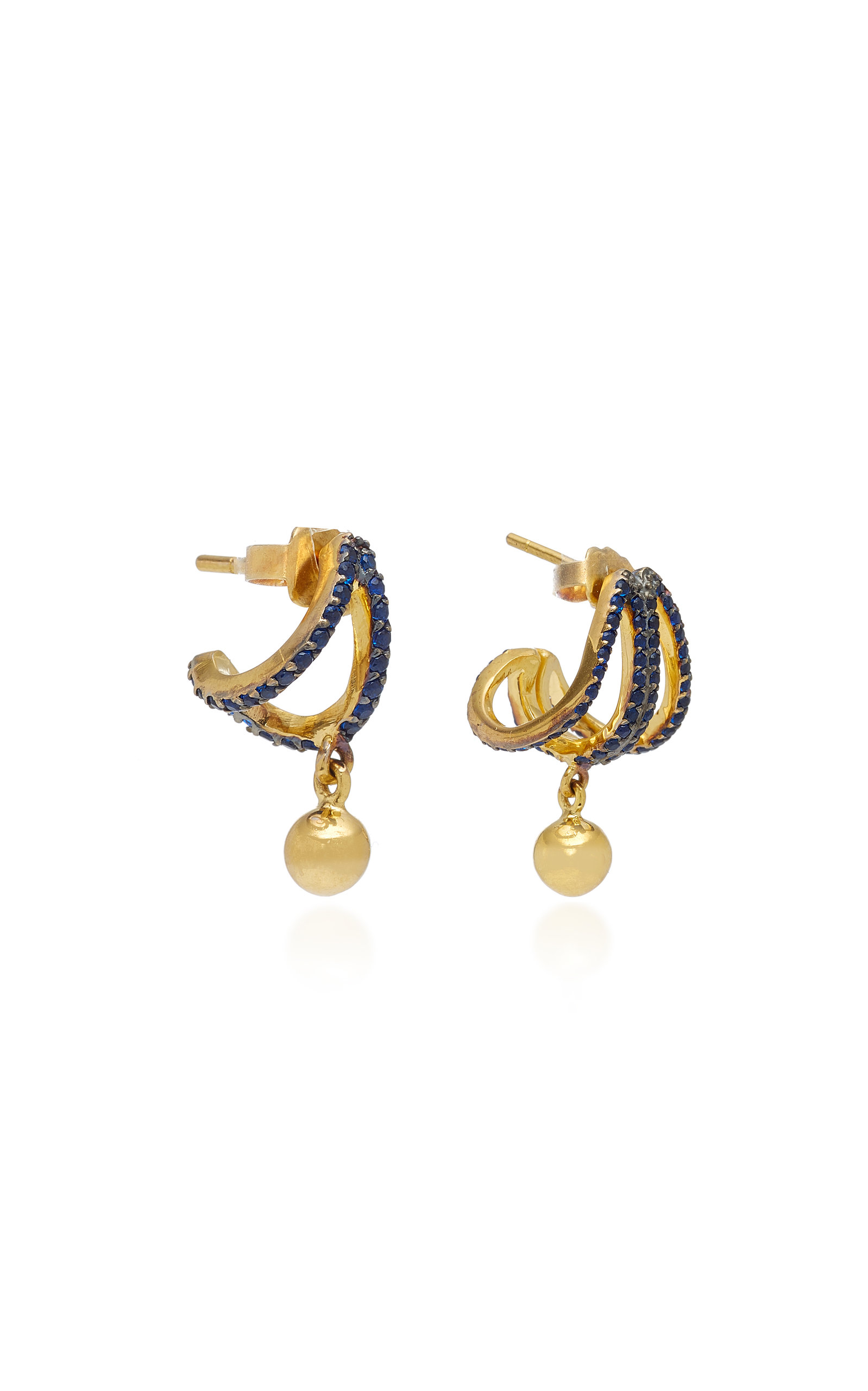 Set of Three Criss-Cross Gold-Plated Brass and Cubic Zirconia Earrings Joanna Laura Constantine QJENZC