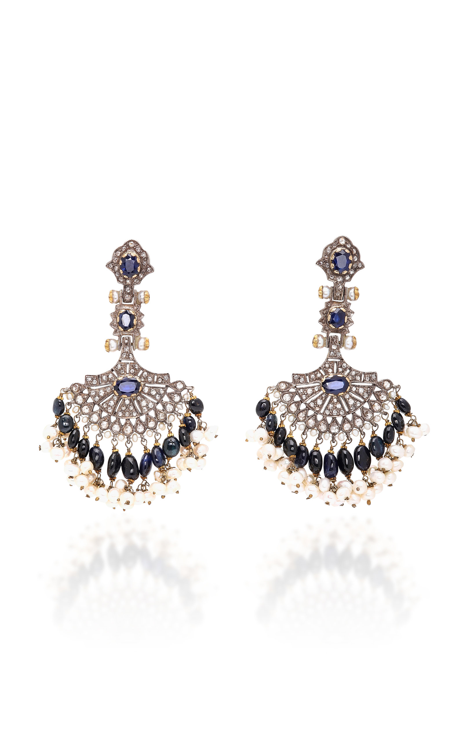 SANJAY KASLIWAL Indo-Russian 14K Gold Pearl Sapphire And Diamond Earrings in Blue