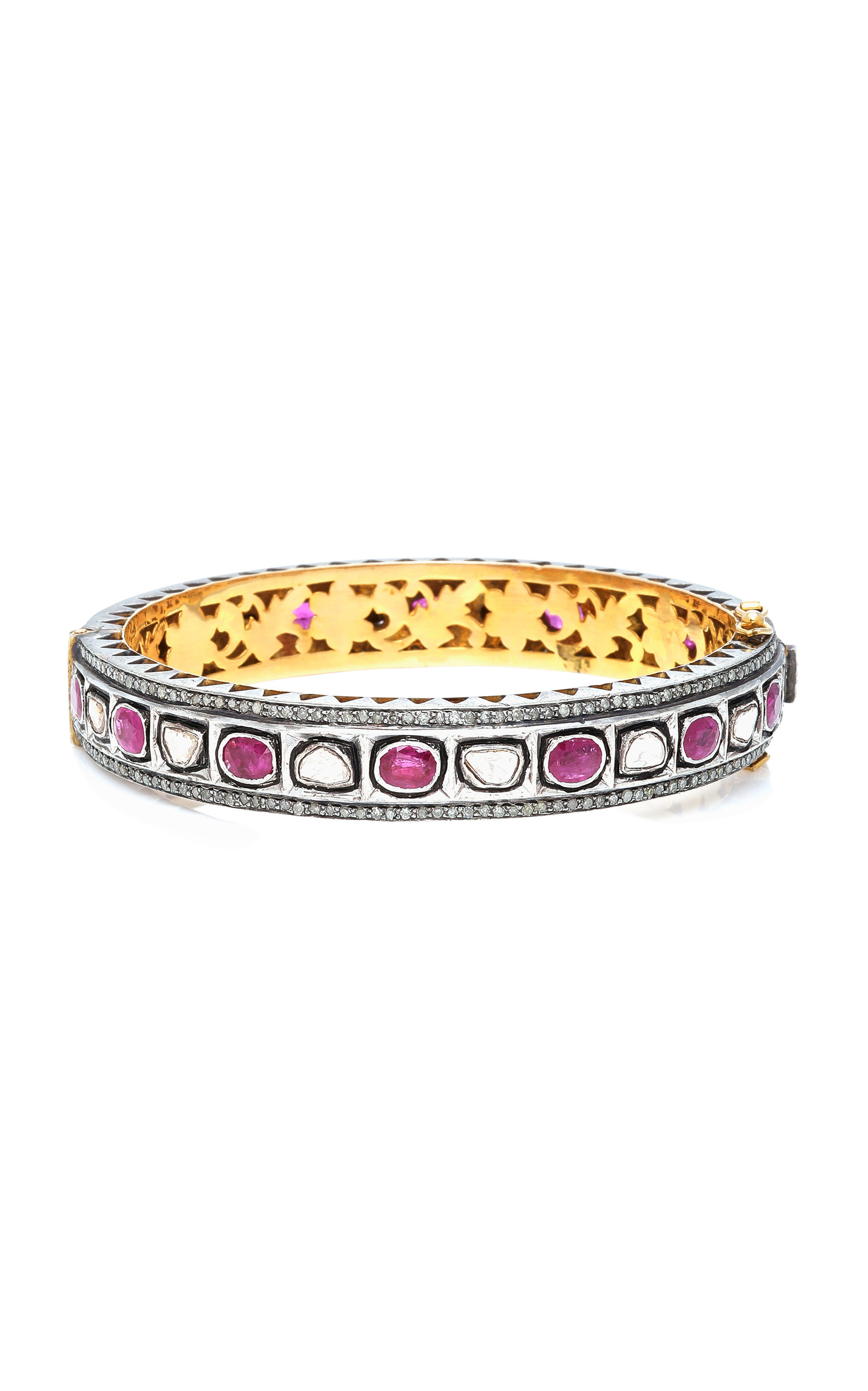SANJAY KASLIWAL 14K Gold Silver Ruby And Diamond Bracelet in Red
