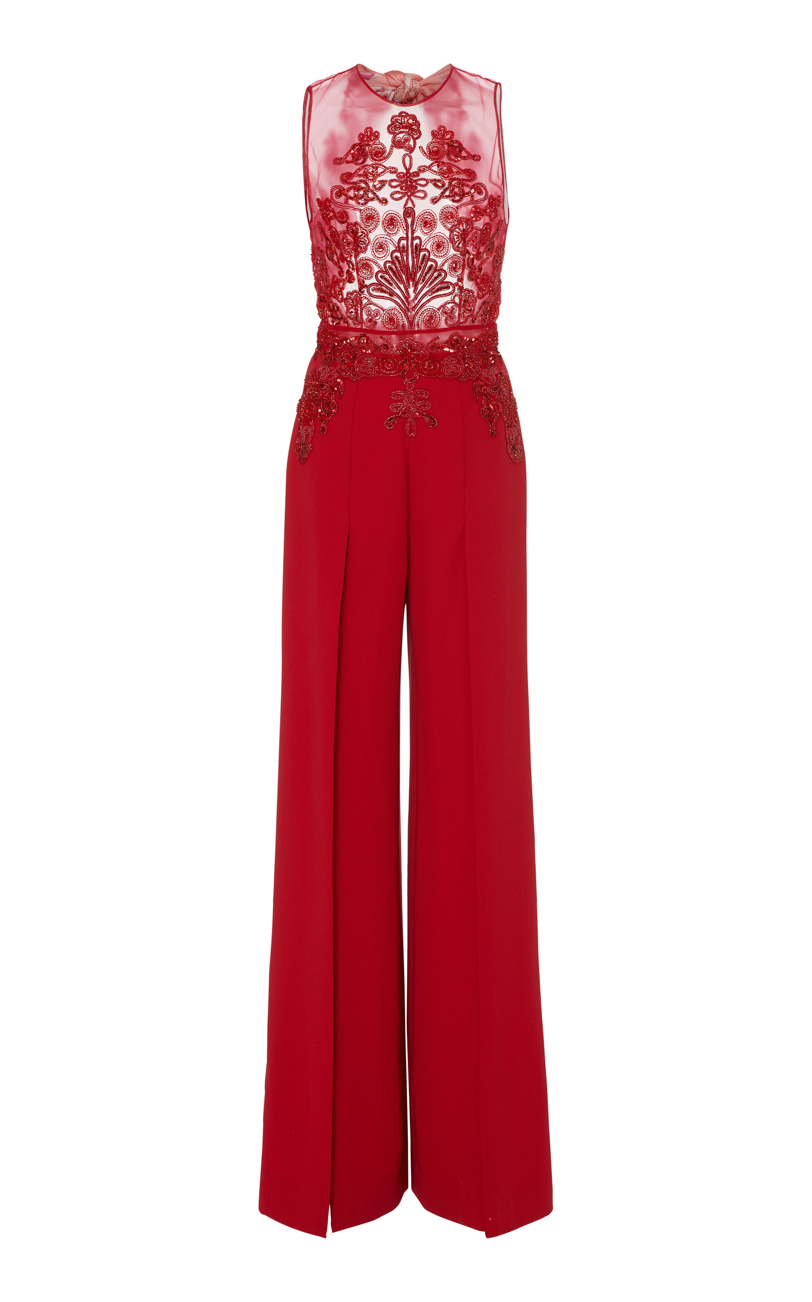 Embroidered Sheer Crepe Jumpsuit by Zuhair Murad