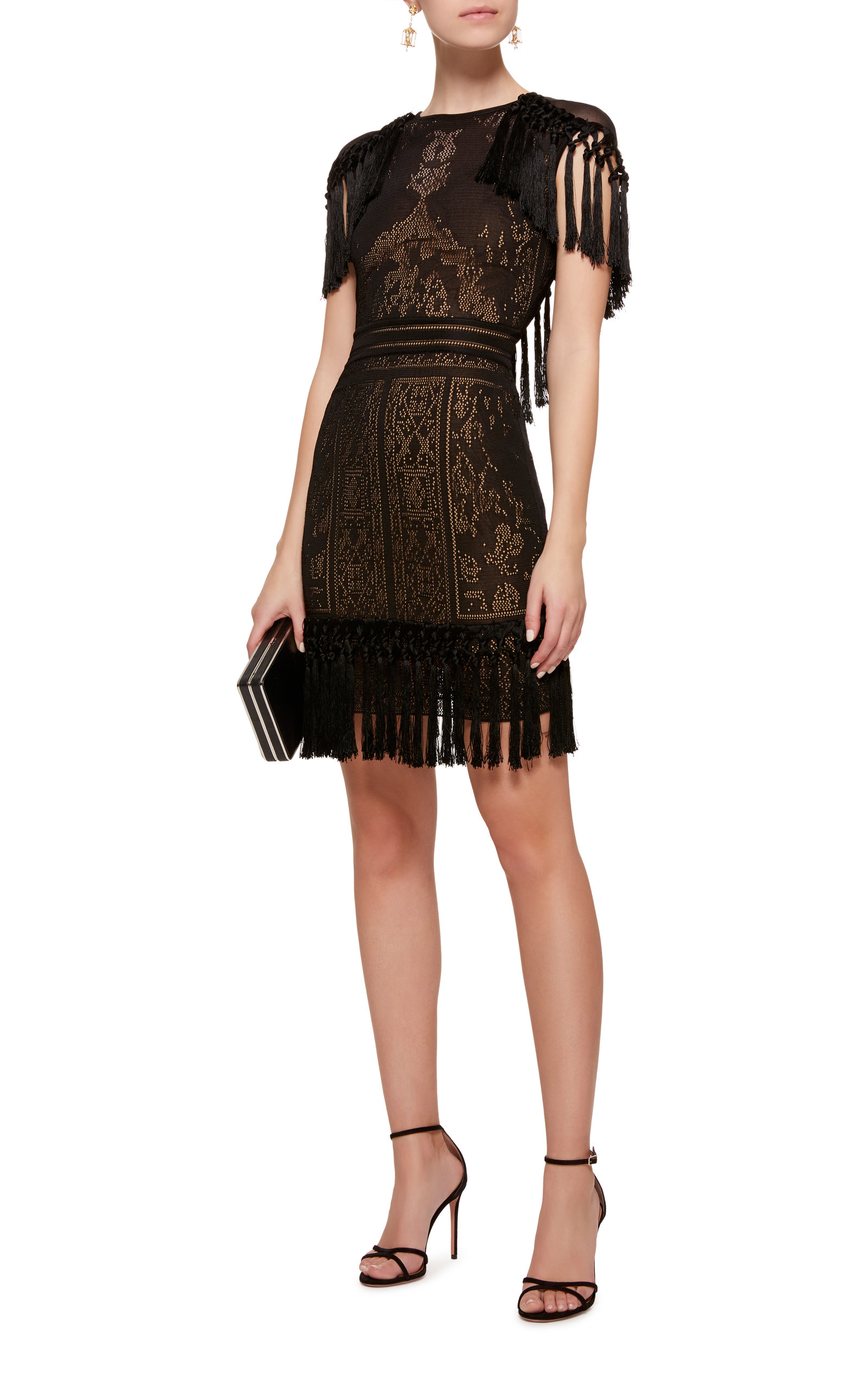 Click Product to Zoom Zuhair Murad Fringe Sheer Knit Mini Dress - what to wear to a new year's party