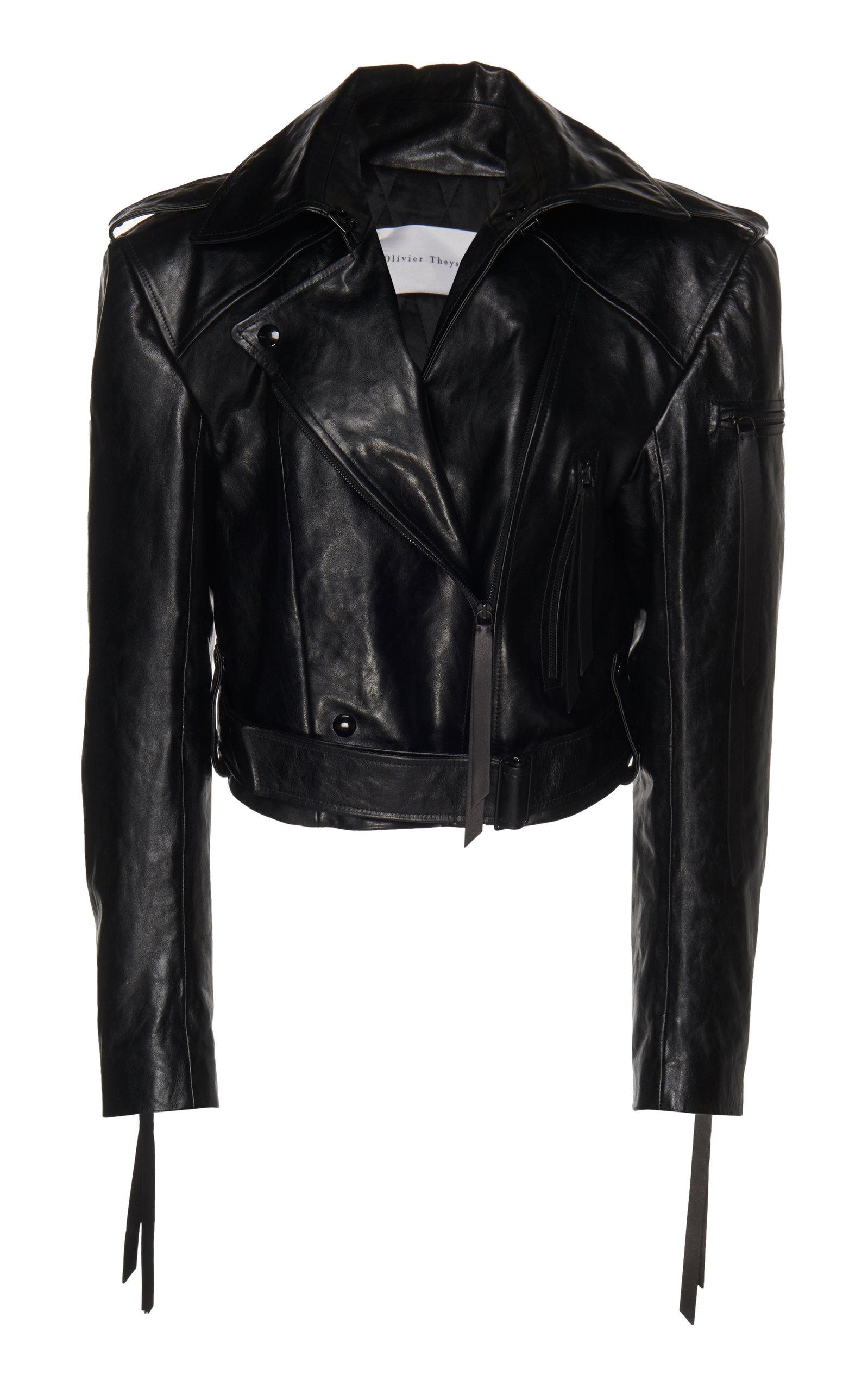 OLIVIER THEYSKENS Leather Biker Jacket in Black