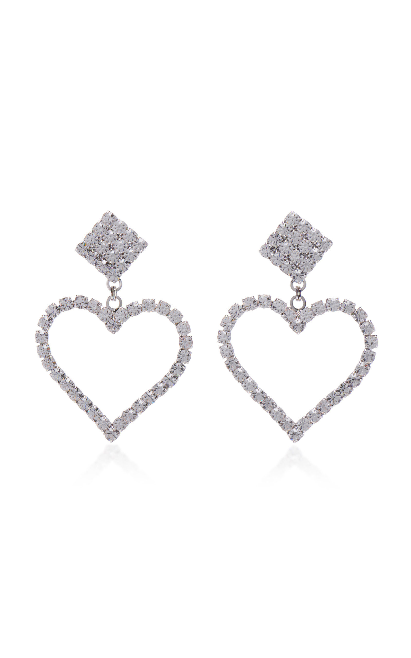 Alessandra Rich Heart Crystal Earrings In Metallic