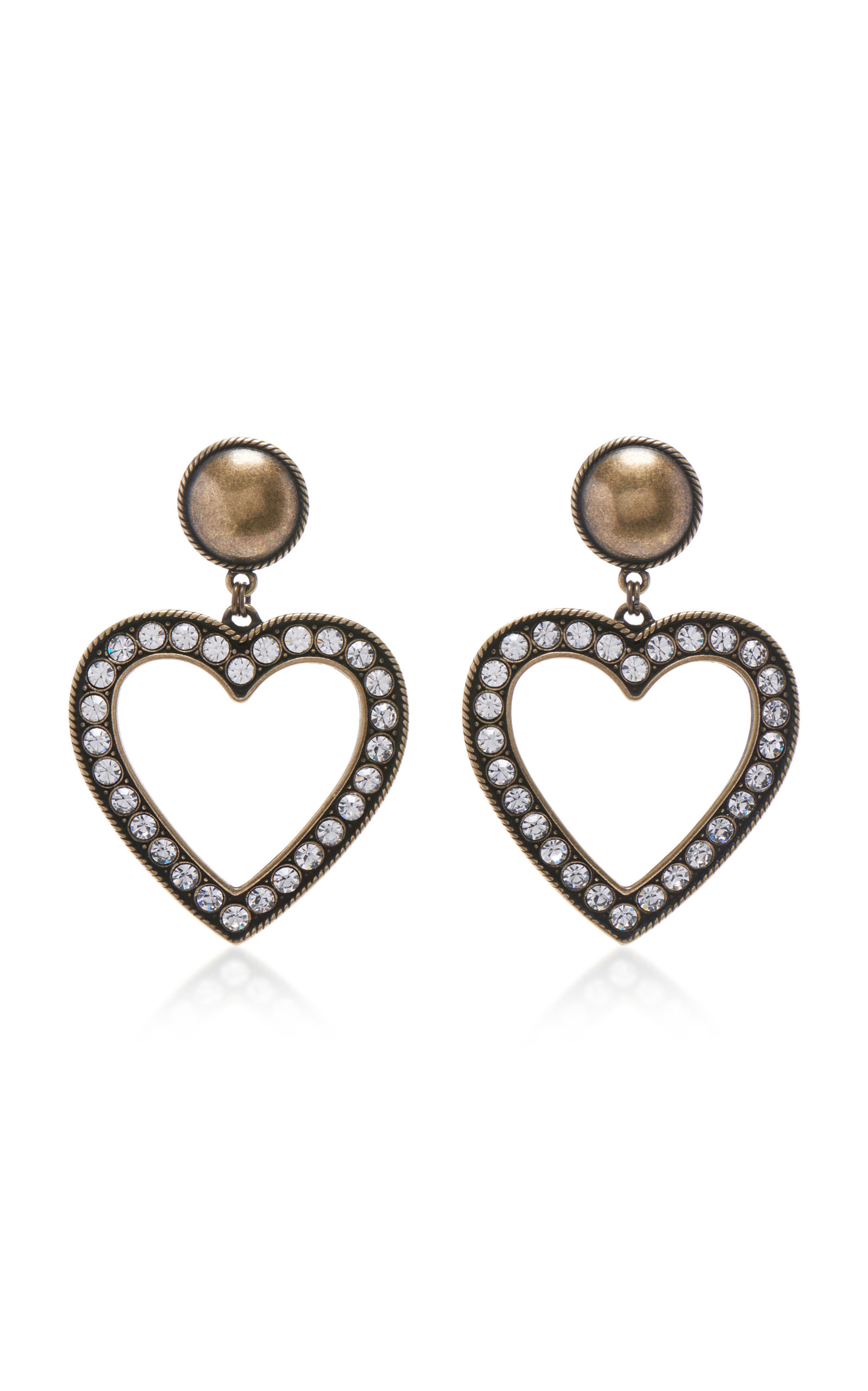 101db8124b Brass With Crystal Heart Earrings by Alessandra Rich | Moda Operandi