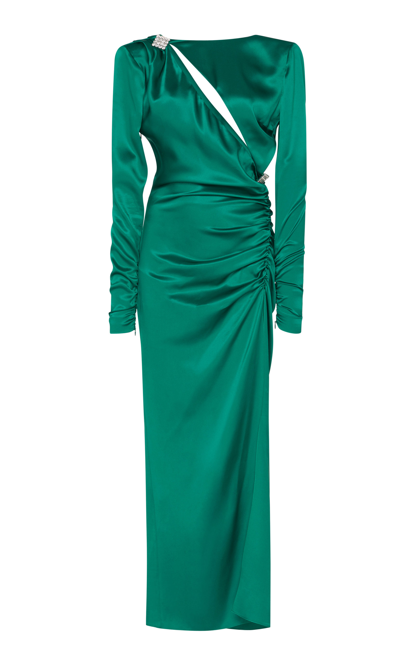 ALESSANDRA RICH Ruched Crystal-Embellished Silk-Satin Midi Dress in Emerald