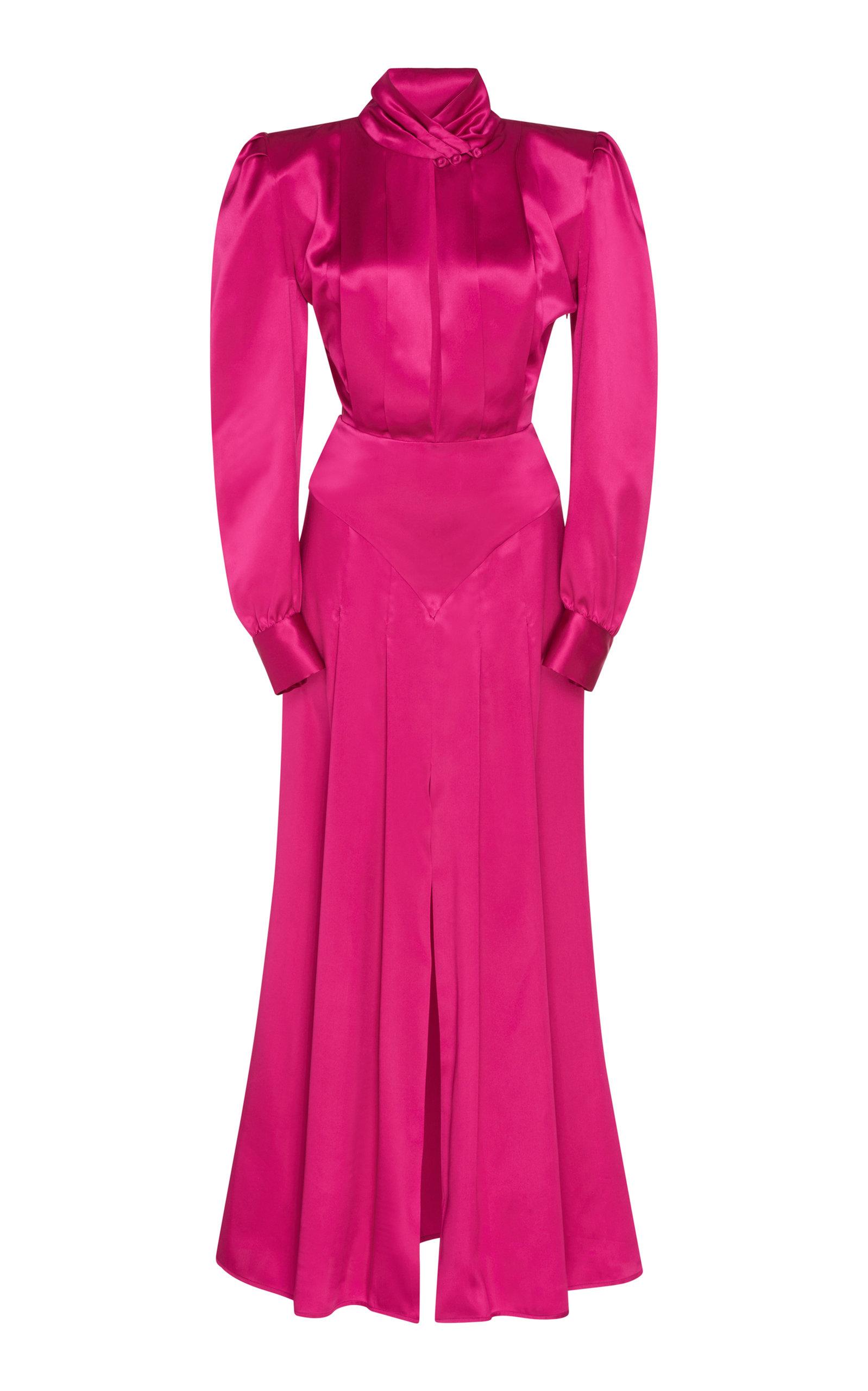 ALESSANDRA RICH Silk Satin High Neck Pleated Dress in Pink