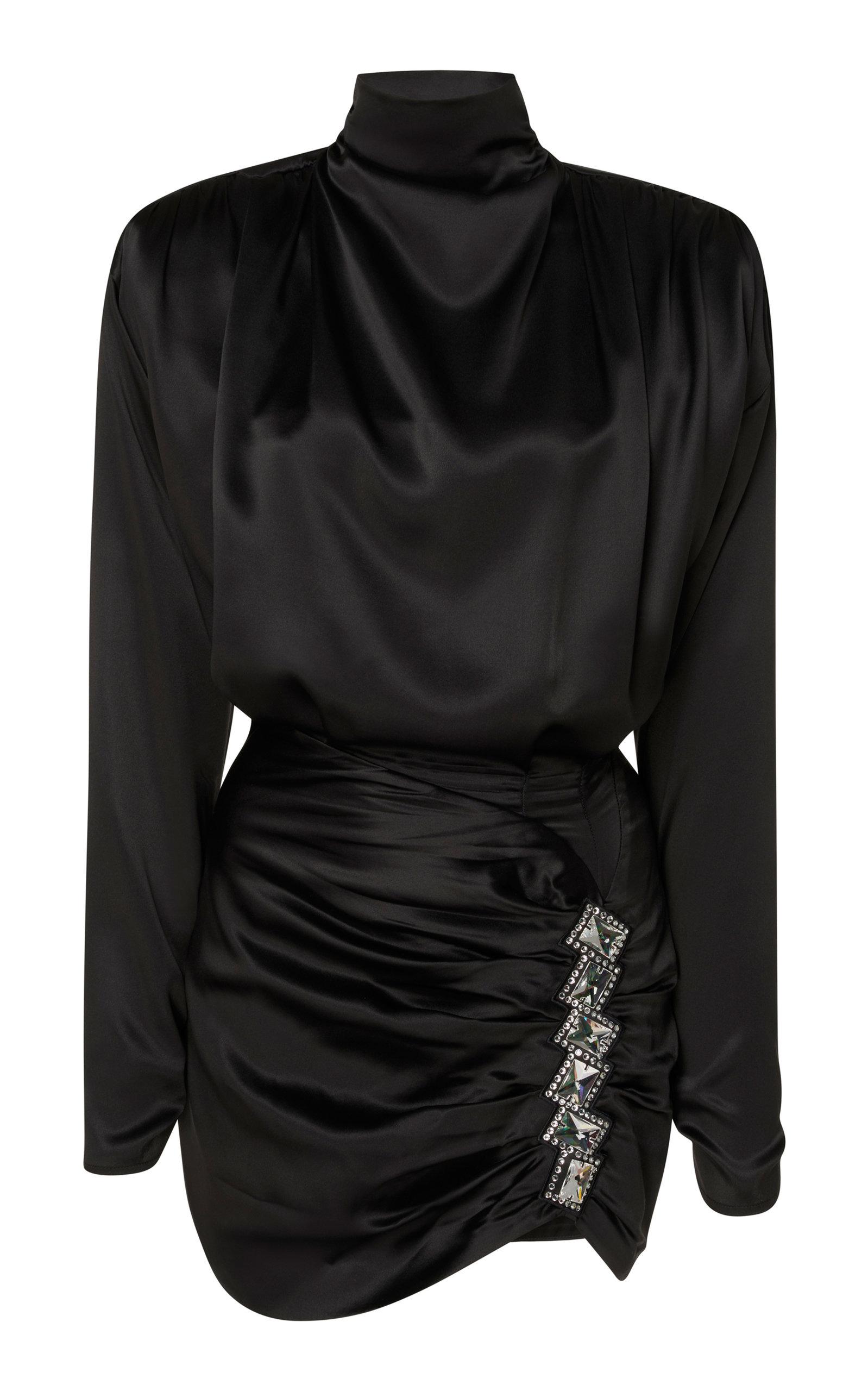 Embellished Open-Back Ruched Satin Mini Dress in Black