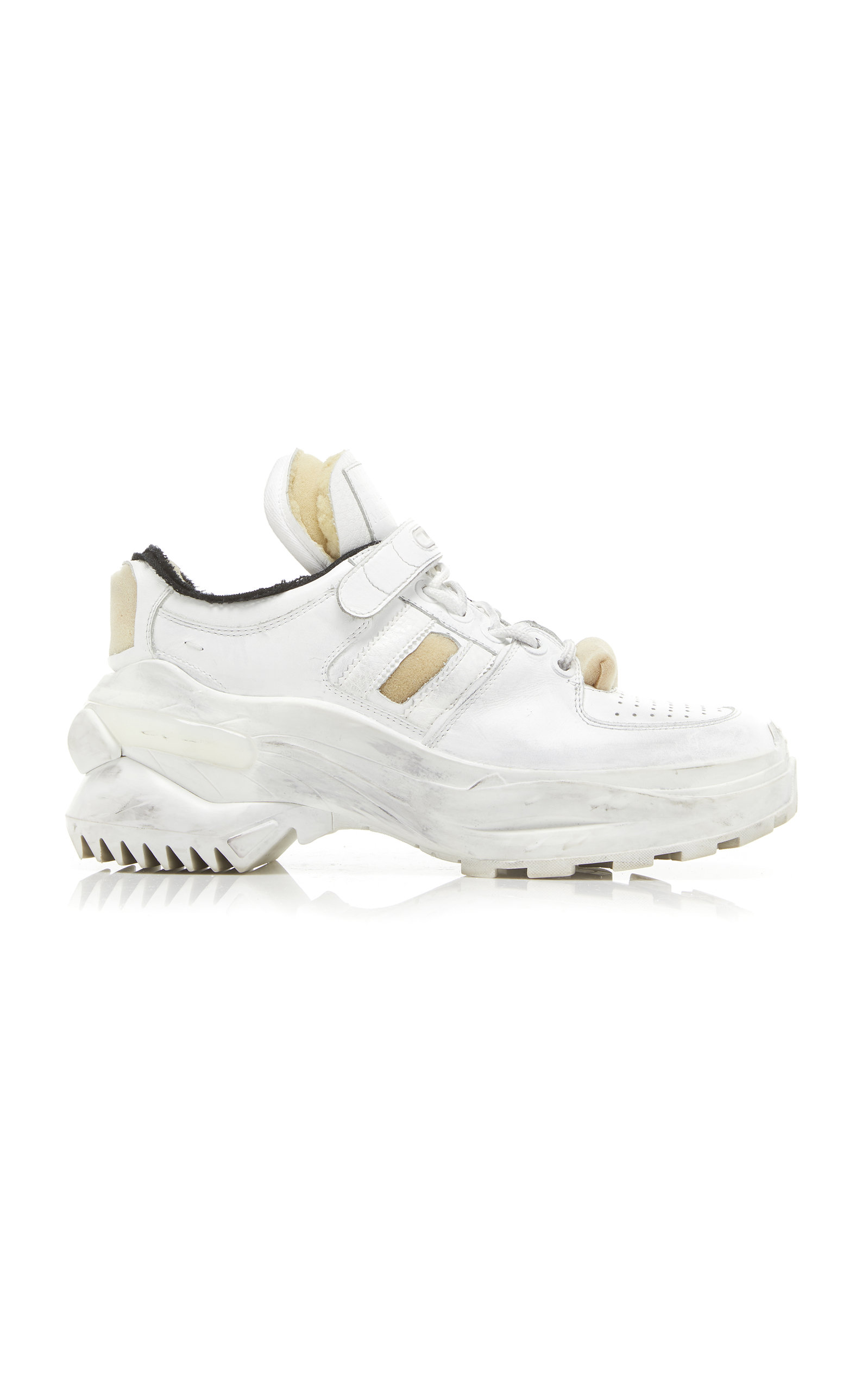 Retro Fit Deconstructed Low-Top Leather Trainers, White