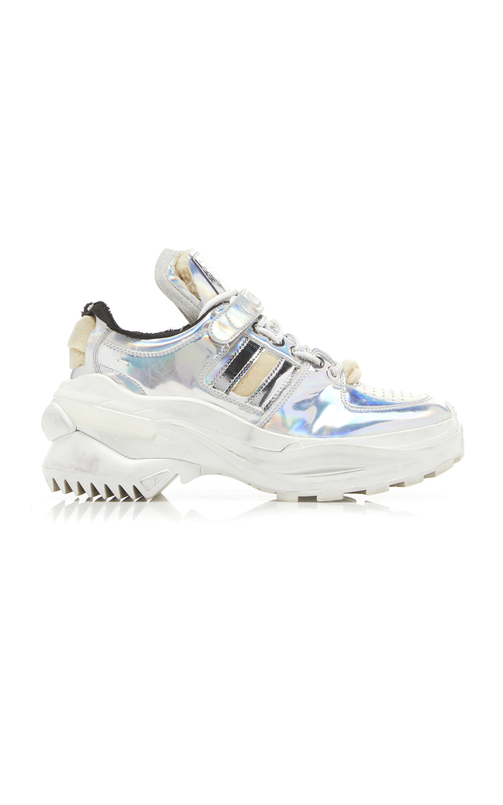 Retro Fit Deconstructed Low-Top Leather Trainers, Metallic