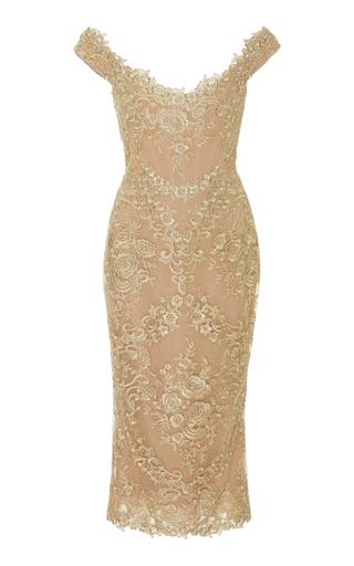 MARCHESA   Marchesa Off-The-Shoulder Metallic Corded-Lace Midi Dress   Goxip
