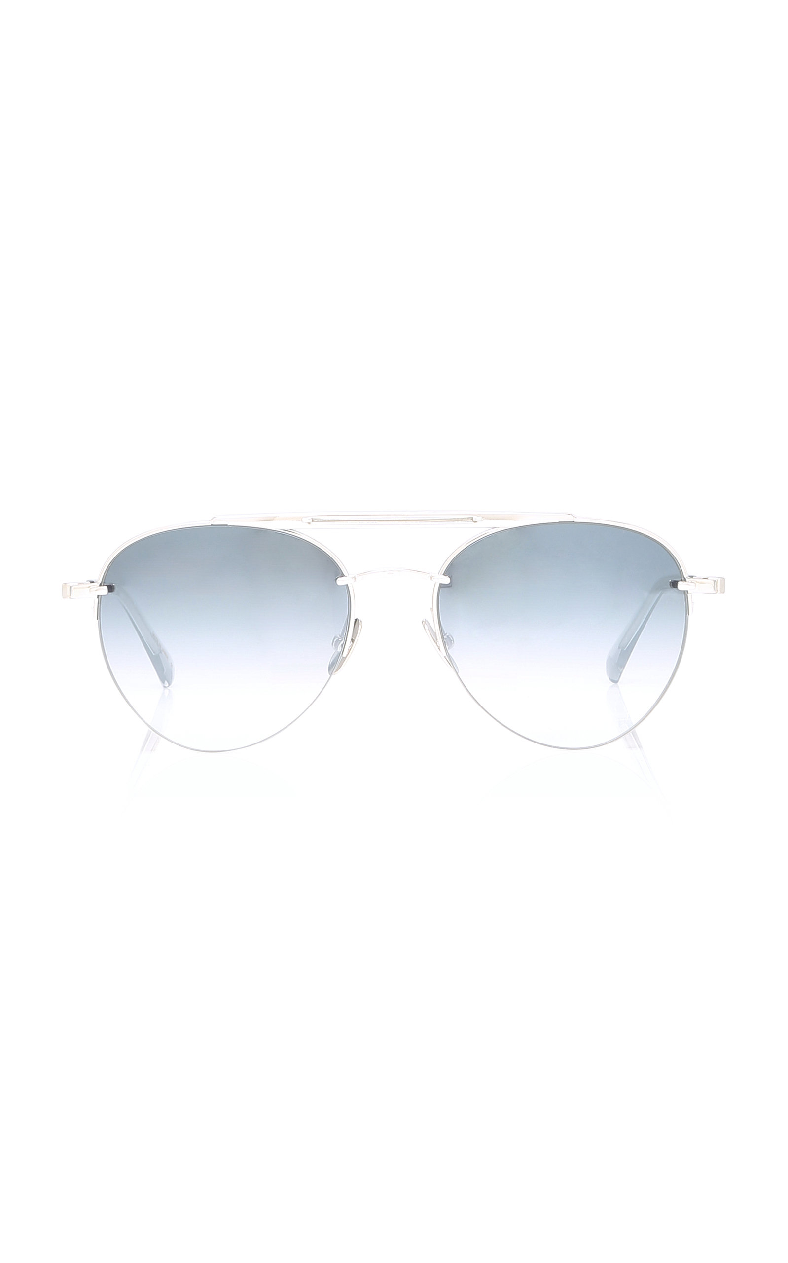MR. LEIGHT Rodeo Platinum-Plated Aviator Sunglasses in Grey