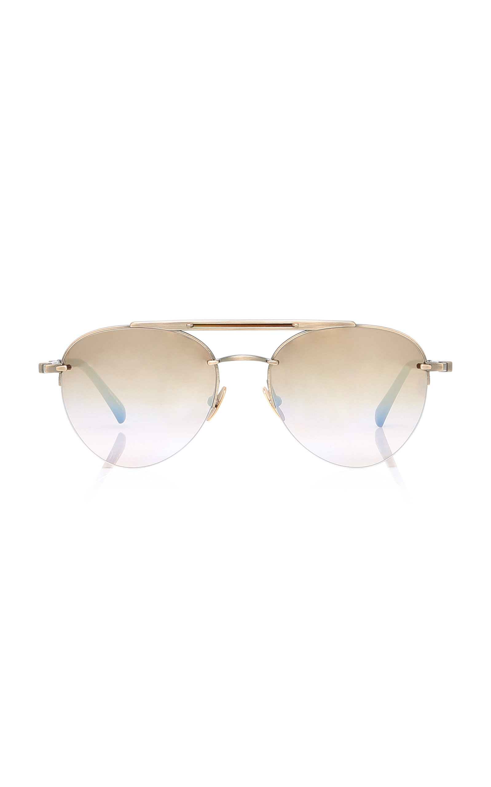 MR. LEIGHT Rodeo Gold-Plated Aviator Sunglasses in Brown