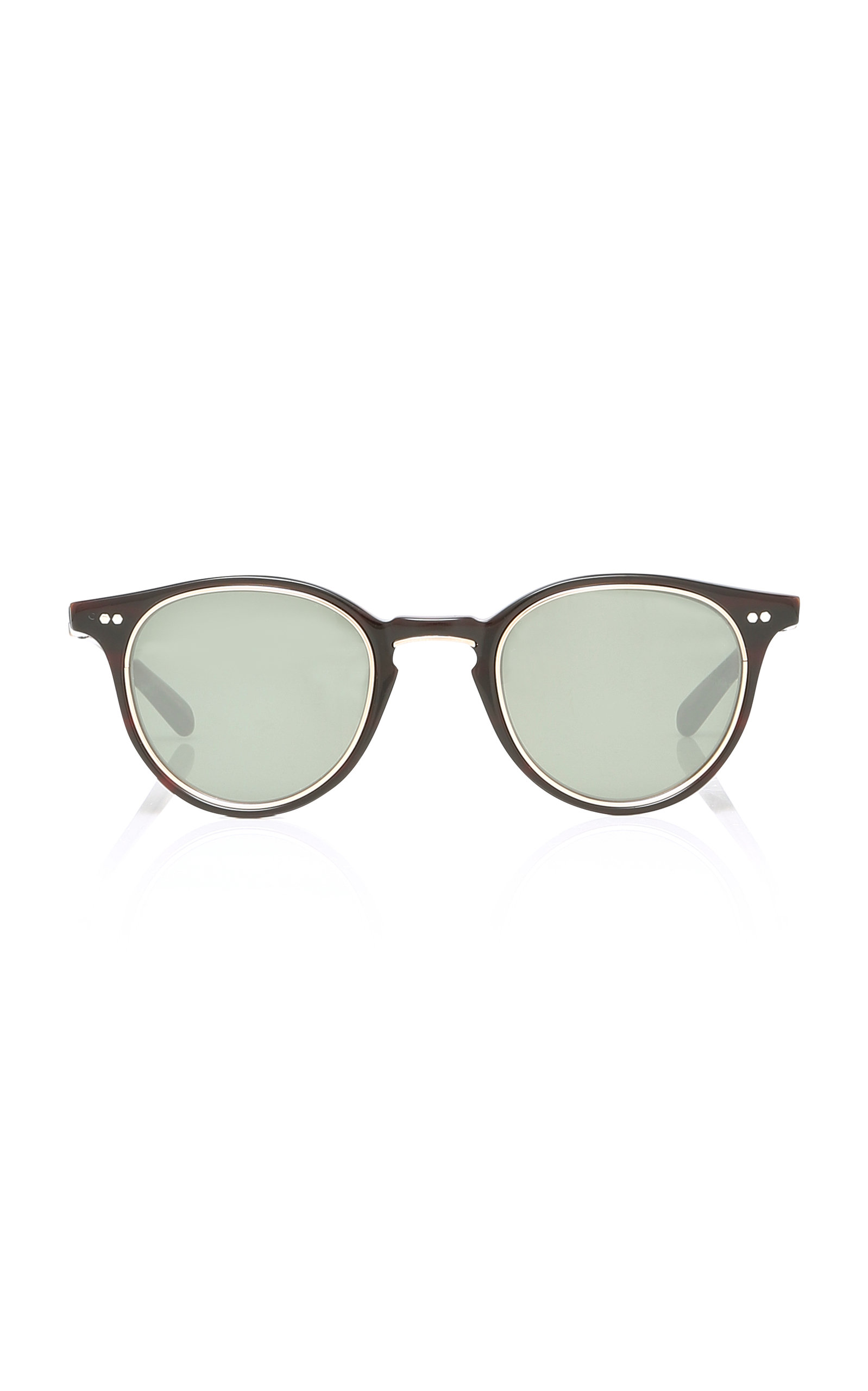 MR. LEIGHT Marmont Round Acetate And Gold Sunglasses in Black