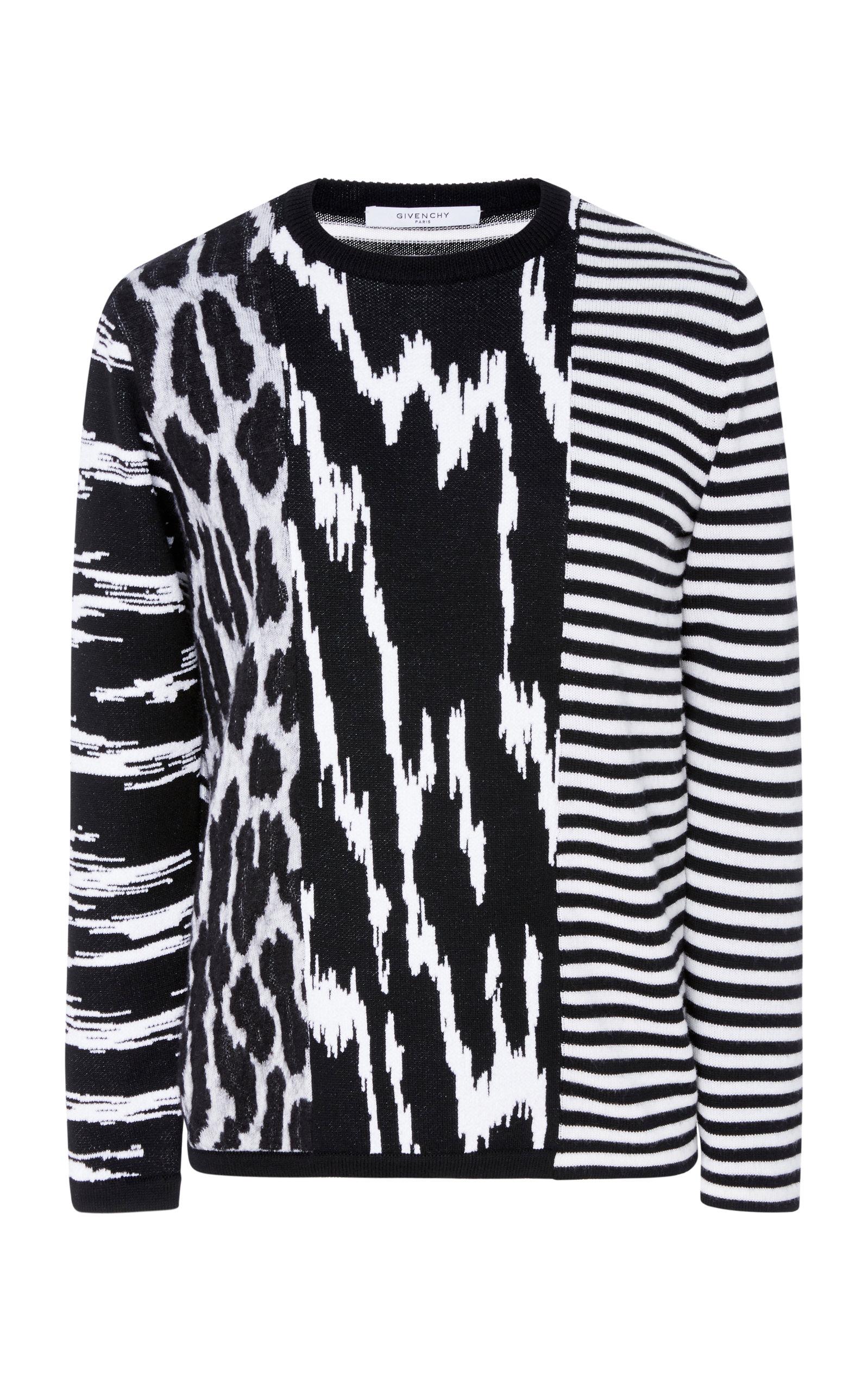 In Intarsia Animal Crewneck Givenchy Sweater Striped Wool Black