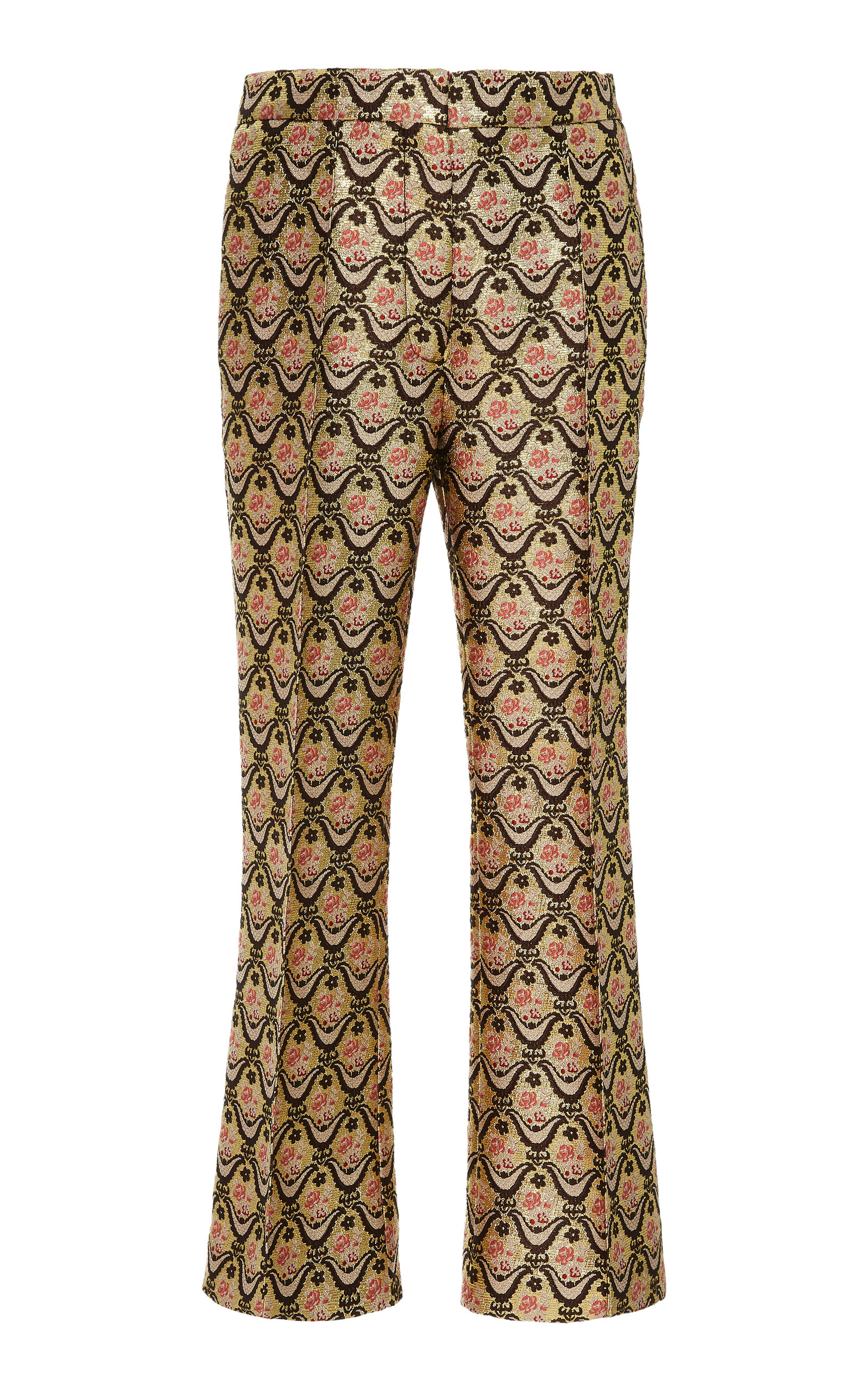 Brocade Straight Leg Trousers, Gold
