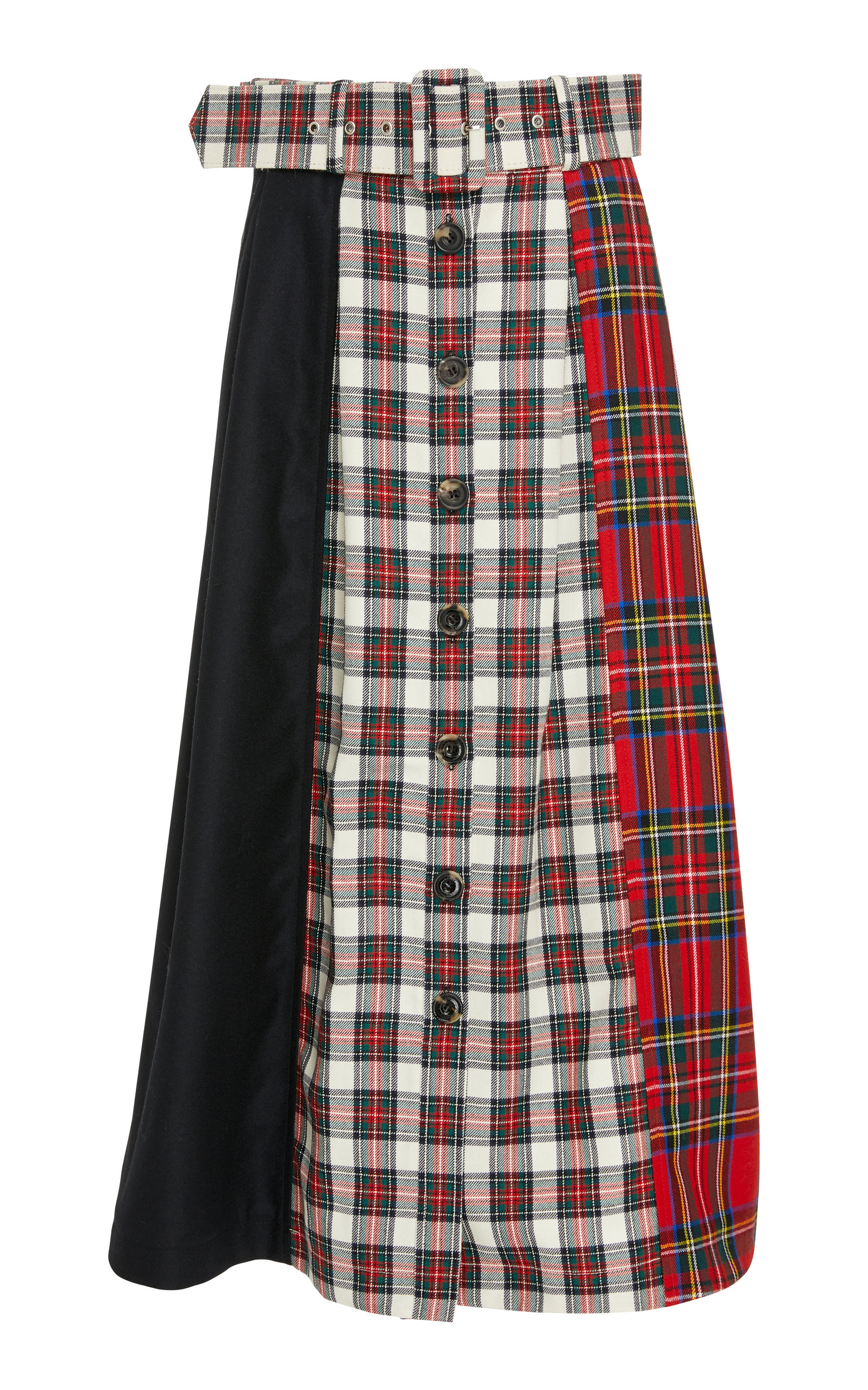 ISA ARFEN Tartan Poatchwork Skirt With Middle Buttons-Line in Red