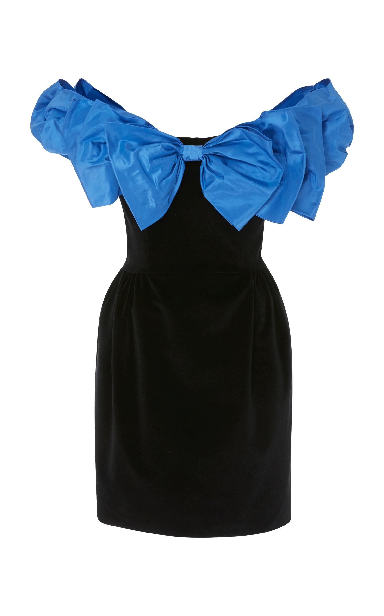 ISA ARFEN Bow-Detailed Taffeta And Velvet Mini Dress in Black Blue