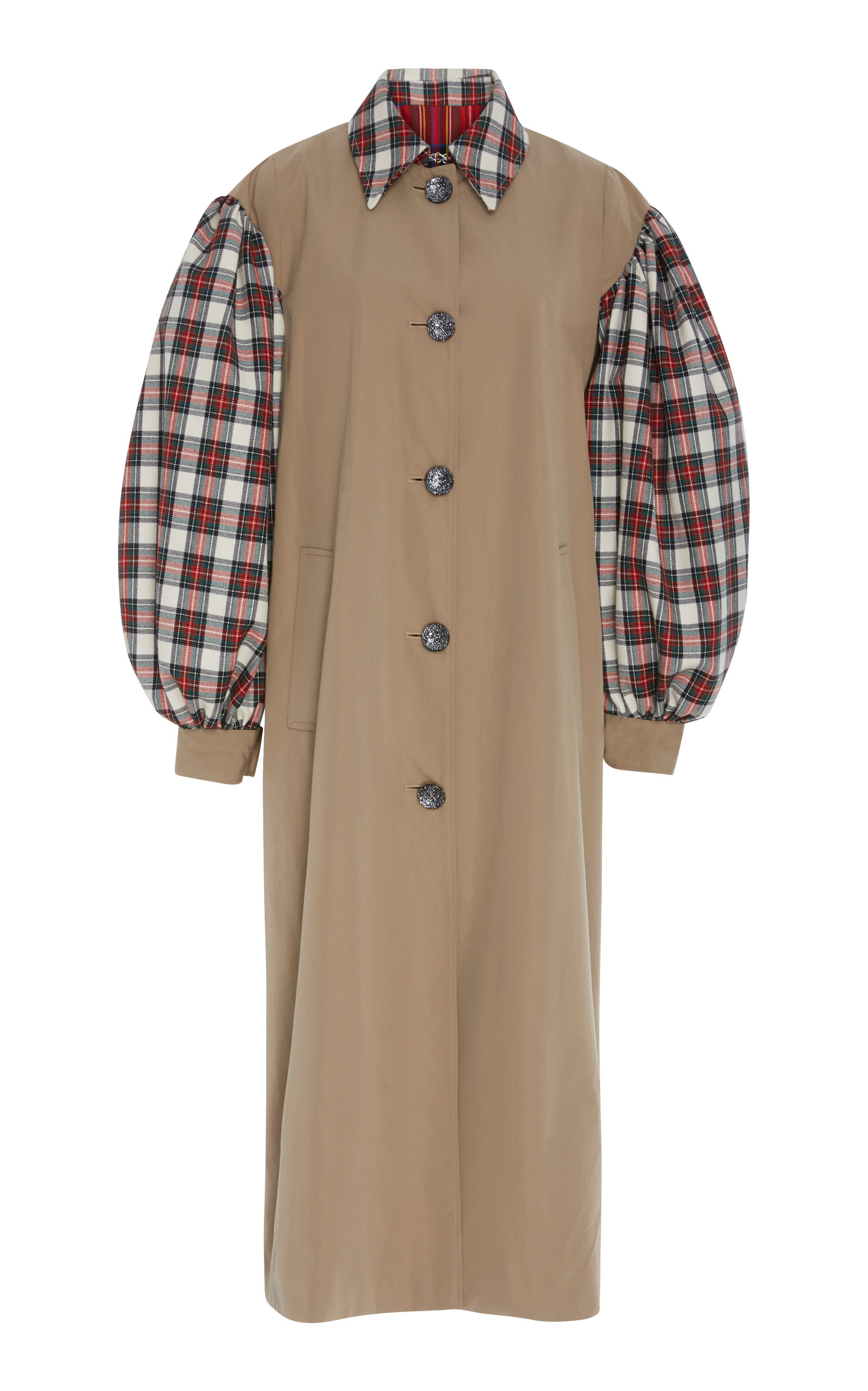 PANELED TARTAN FELT AND COTTON-GABARDINE TRENCH COAT