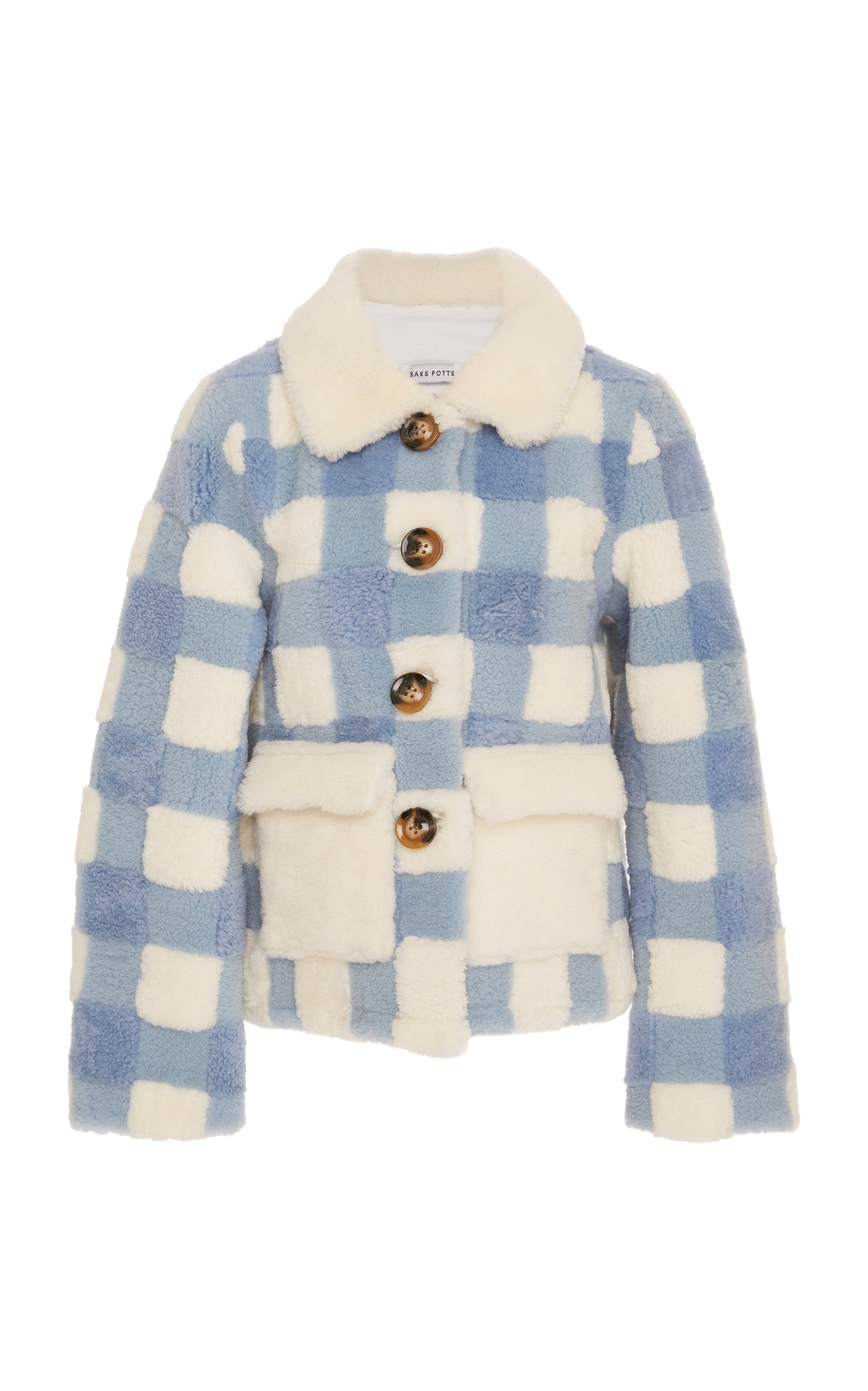 SAKS POTTS Lucy Checked Shearling Jacket in Blue