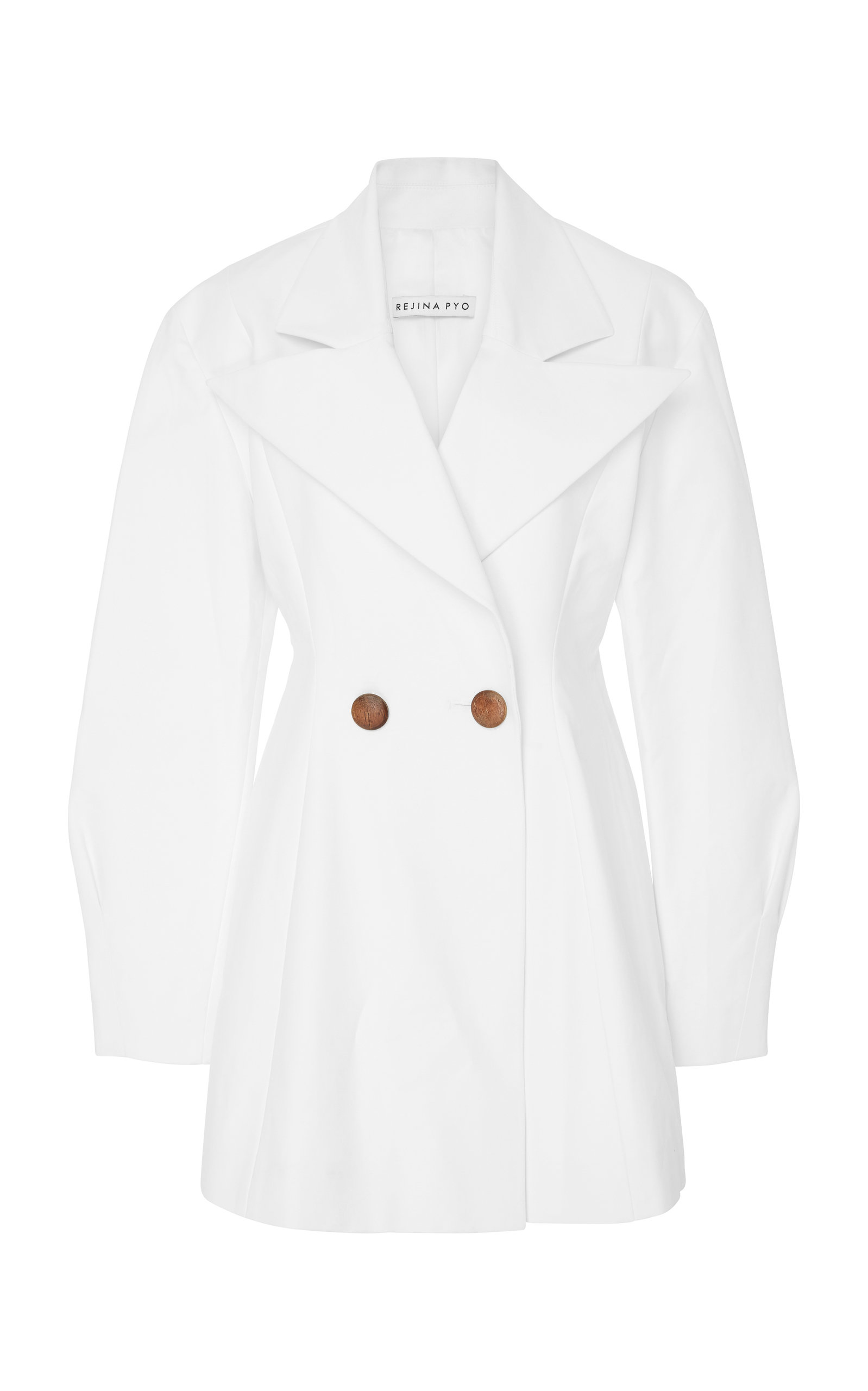 Maja Double-Breasted Cotton-Crepe Blazer, White