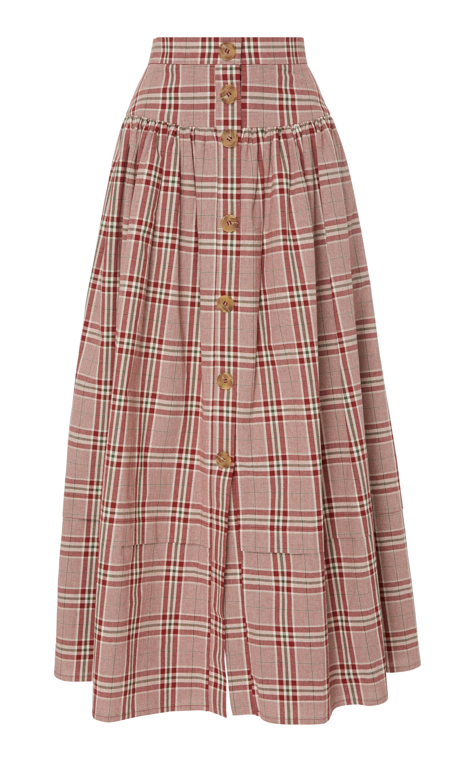Freya Pleated Checked Cotton-Poplin Midi Skirt in Red