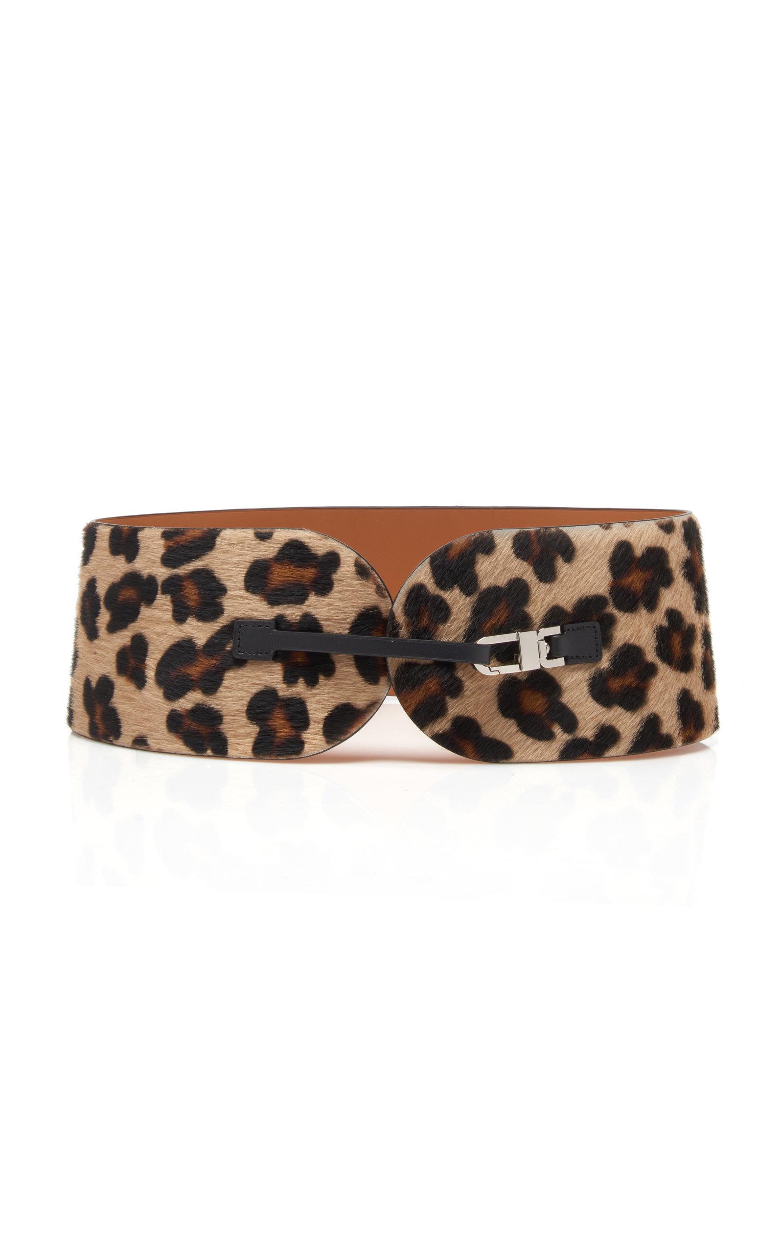 M'O Exclusive Leopard Print Calf-Hair Belt in Animal