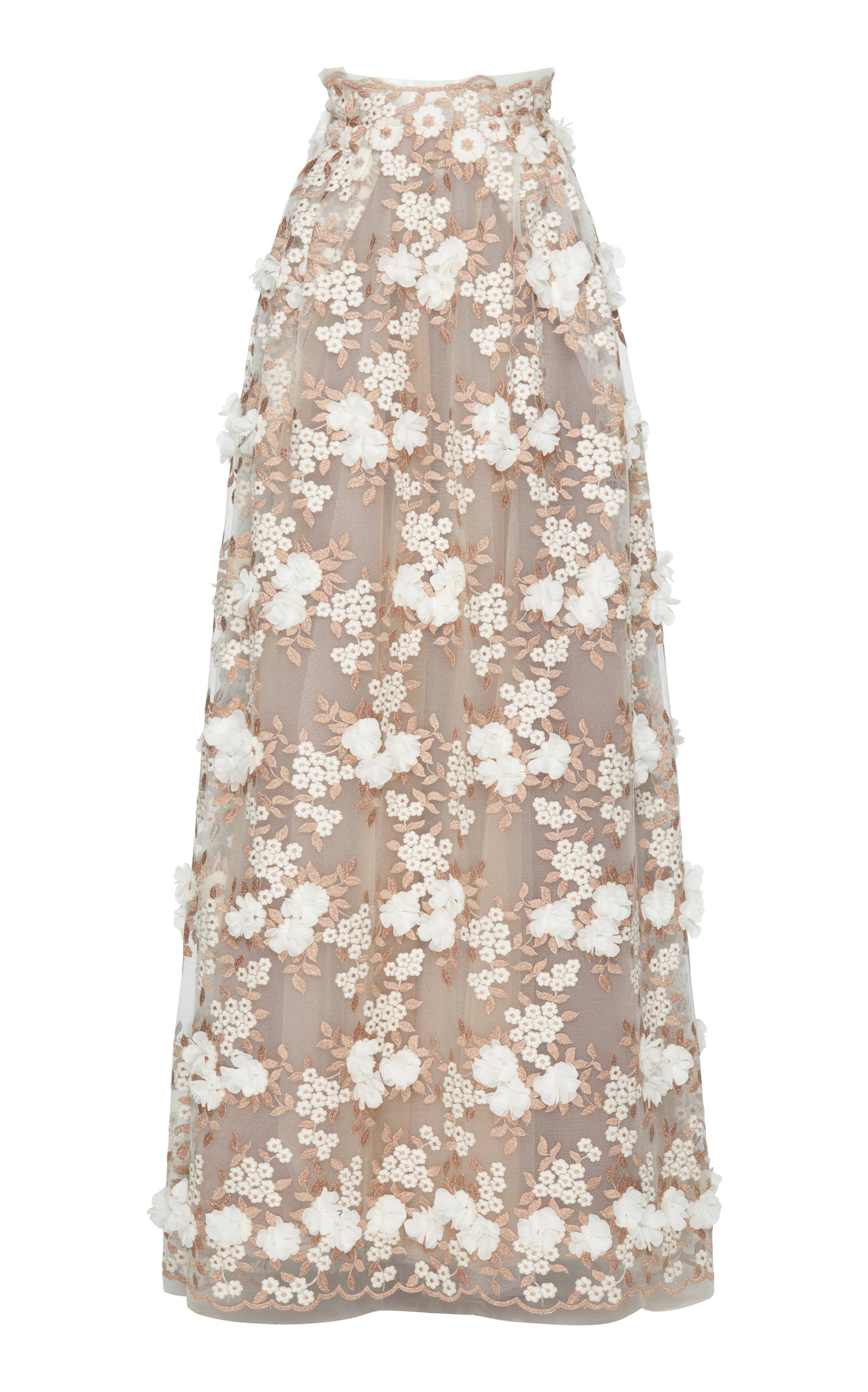 Tulle Embroidered Flowers Long Skirt by Luisa Beccaria | Moda Operandi
