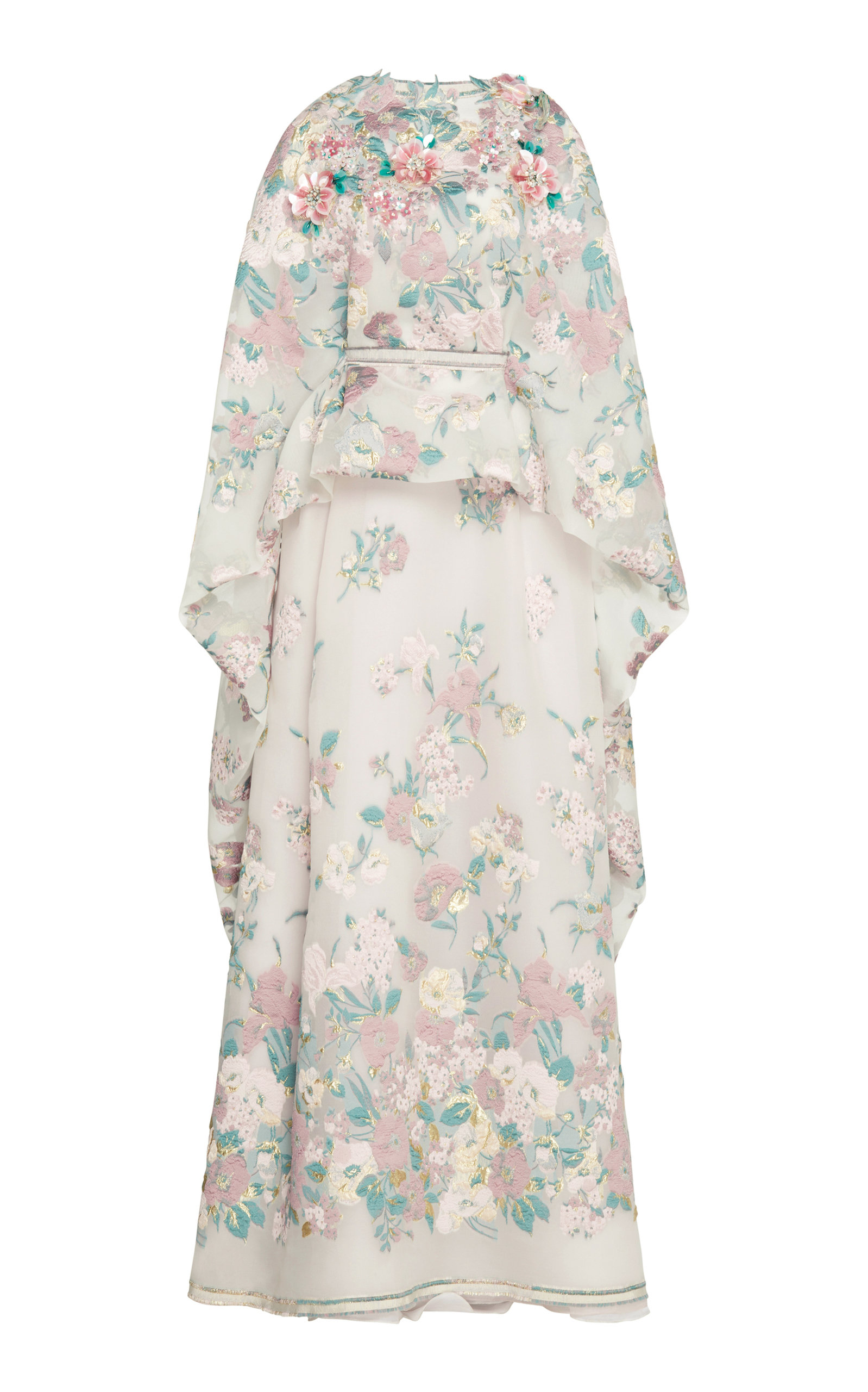 LUISA BECCARIA EMBELLISHED FLORAL CREPE GOWN