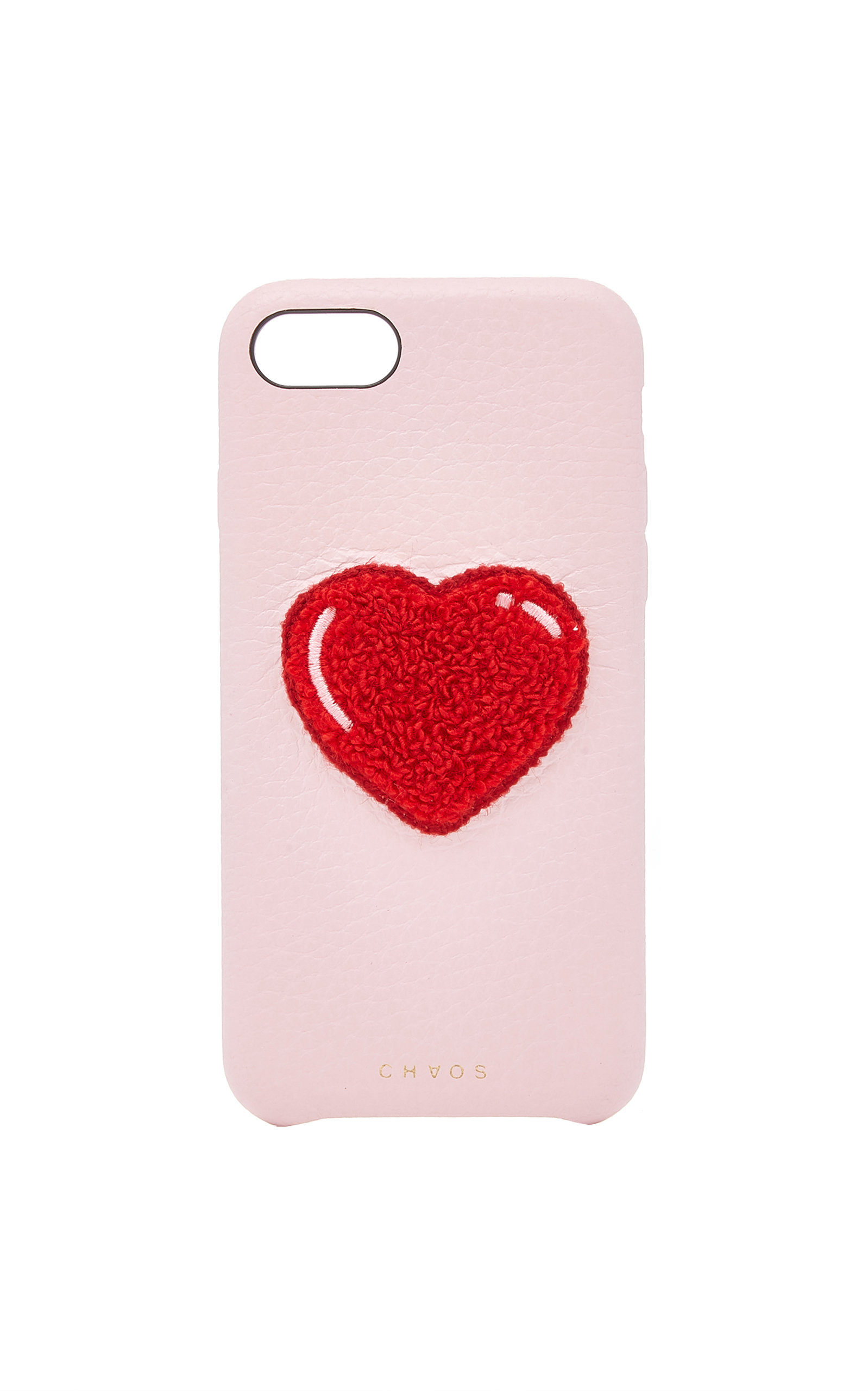 M'O Exclusive Embroidered Chenille Heart Leather Iphone 7/8 Case, Pink