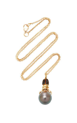 DANIELA VILLEGAS | Daniela Villegas Khepri 18K Rose Gold Garnet And Pearl Necklace | Goxip