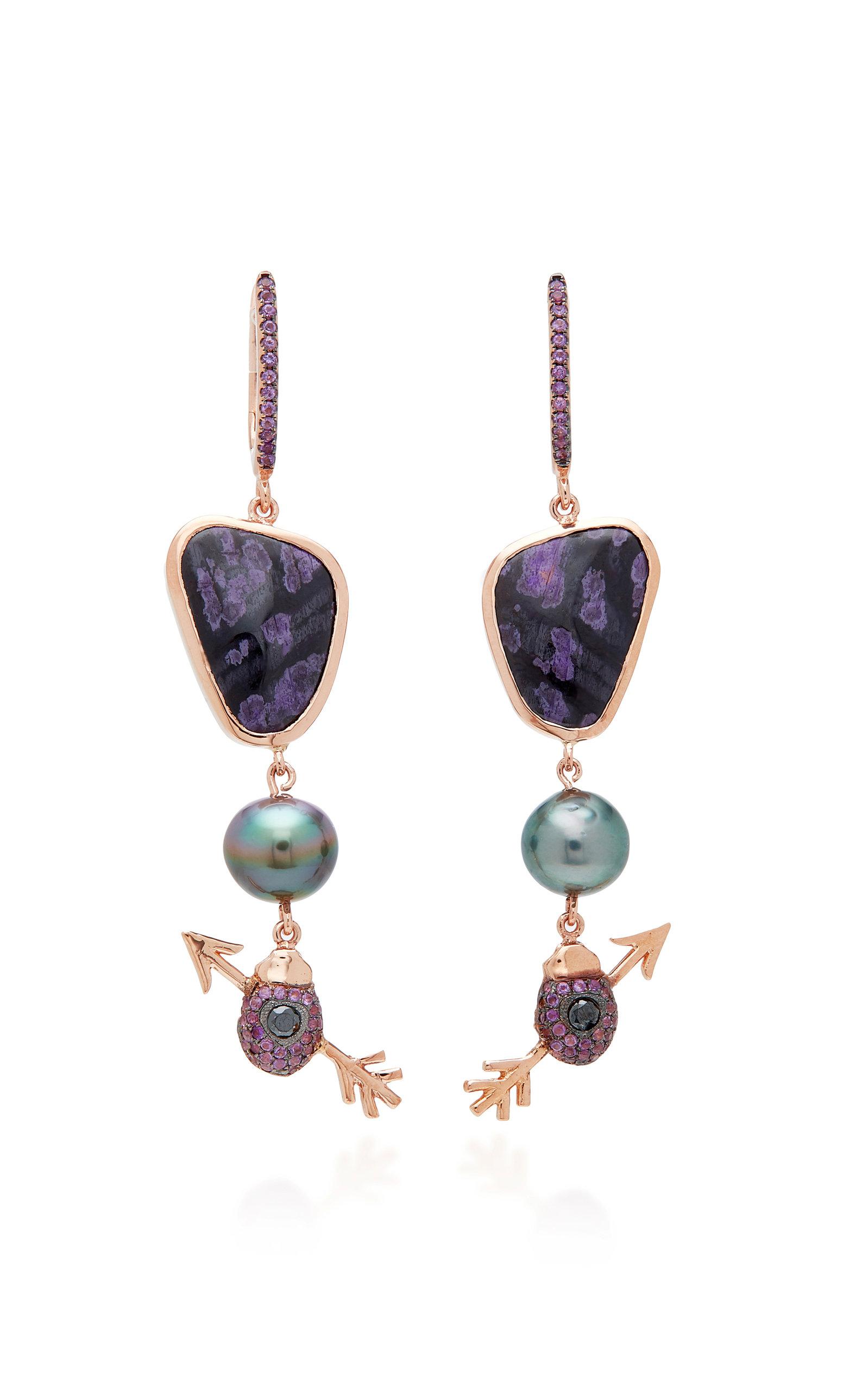 DANIELA VILLEGAS 18K Rose Gold Multi-Stone Earrings in Purple