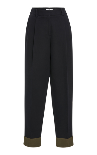 BECKEN | Becken Contrasting Cuffed Twill Cotton-Blend Pants | Goxip