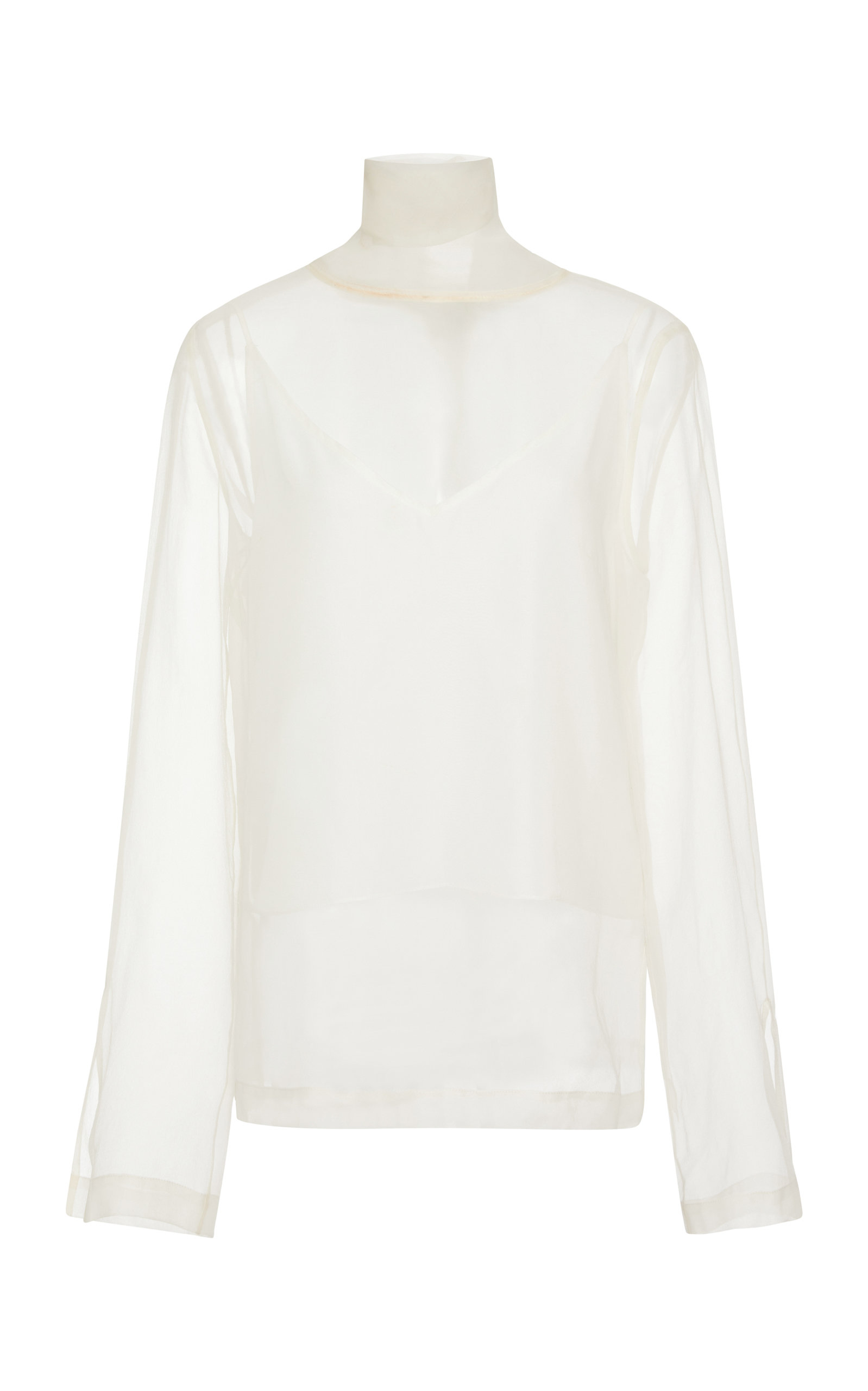 PAPER MOCK NECK SILK CHIFFON TOP