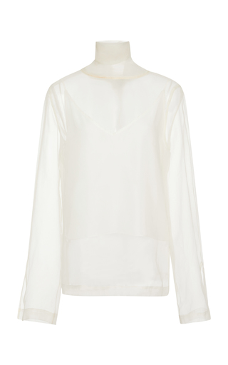 BECKEN | Becken Paper Mock Neck Silk Chiffon Top | Goxip