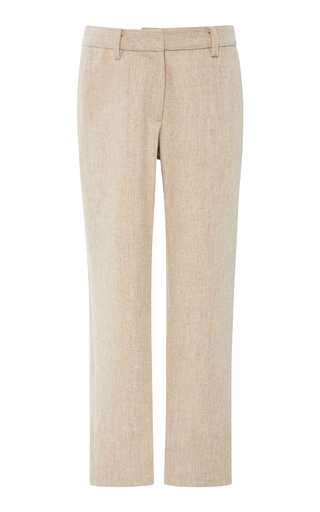 BECKEN | Becken Cropped Textured Wool Trousers | Goxip