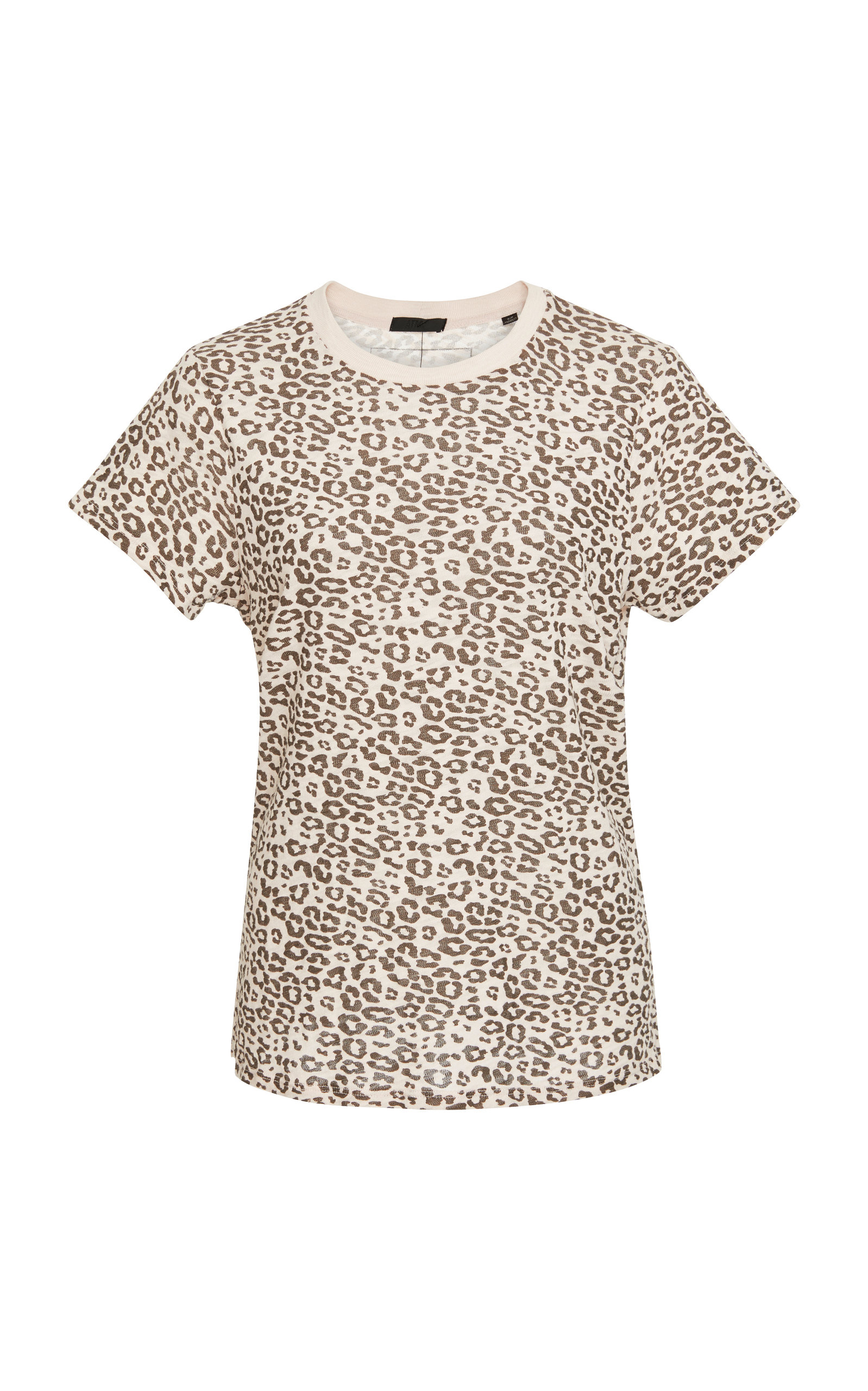 Crewneck Short-Sleeve Leopard-Print Slub Tee, Animal