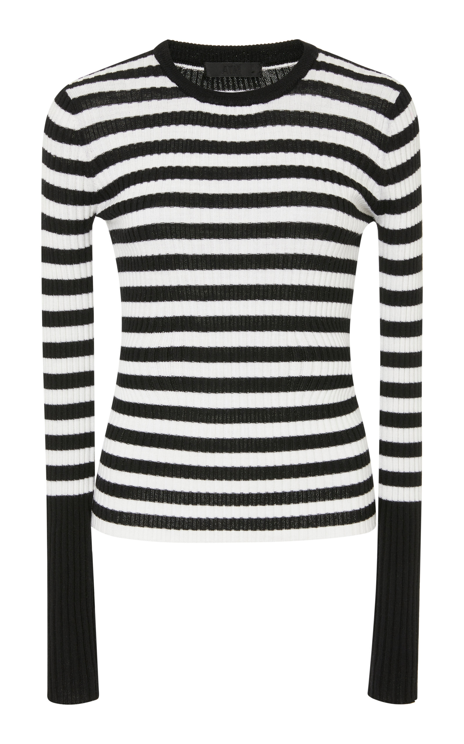 ATM ANTHONY THOMAS MELILLO Striped Merino Wool Rib-Knit Sweater Size Xs in Black