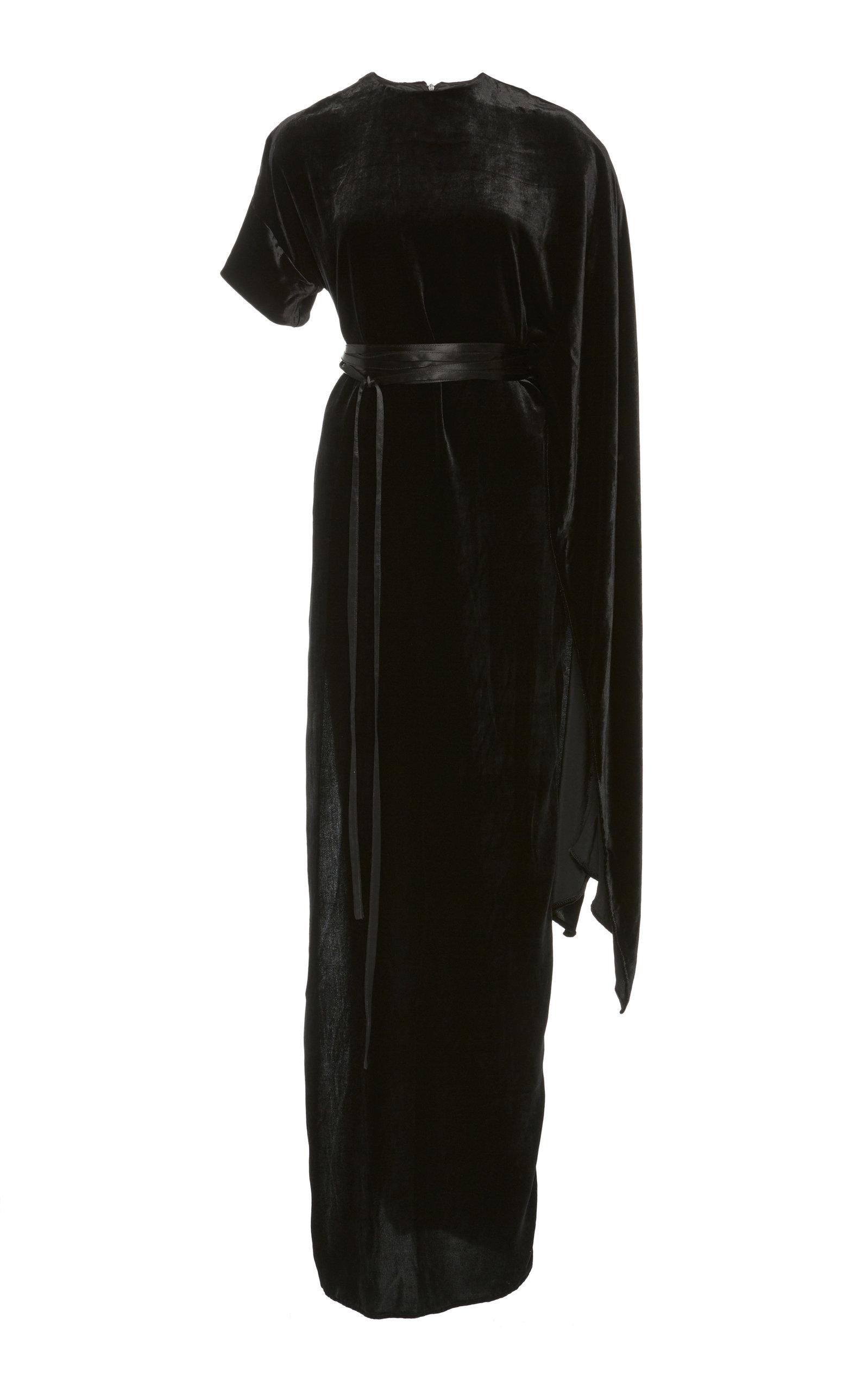 AWAKE Asymmetric Draped Velvet Maxi Dress in Black