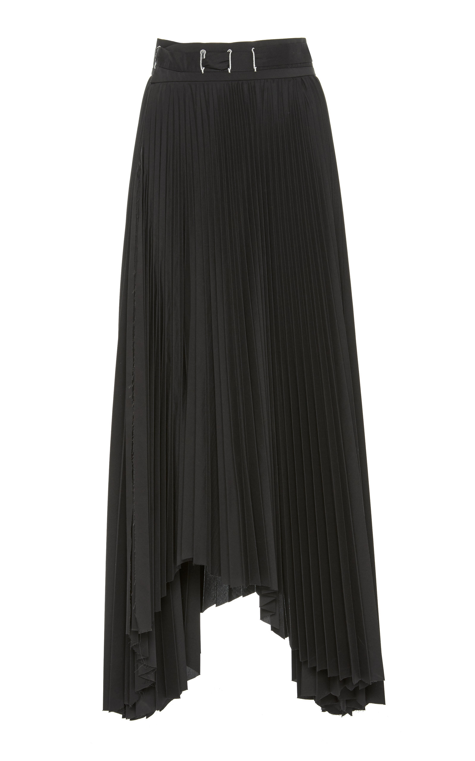 A.W.A.K.E. Asymmetric Pleated Poplin Midi Skirt, Black