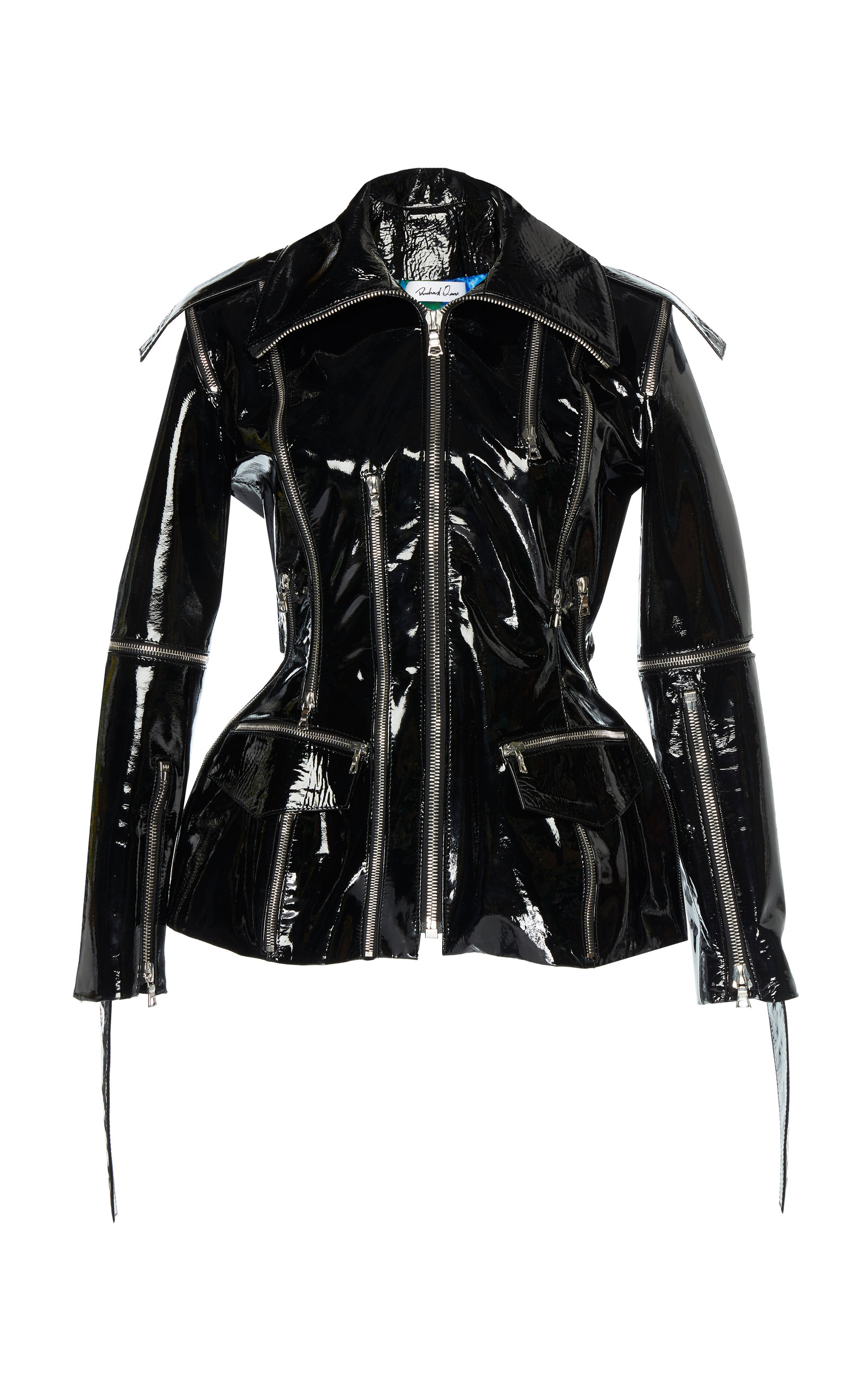 RICHARD QUINN Zip-Front Patent Leather Jacket W/ Floral-Print Lining in Black