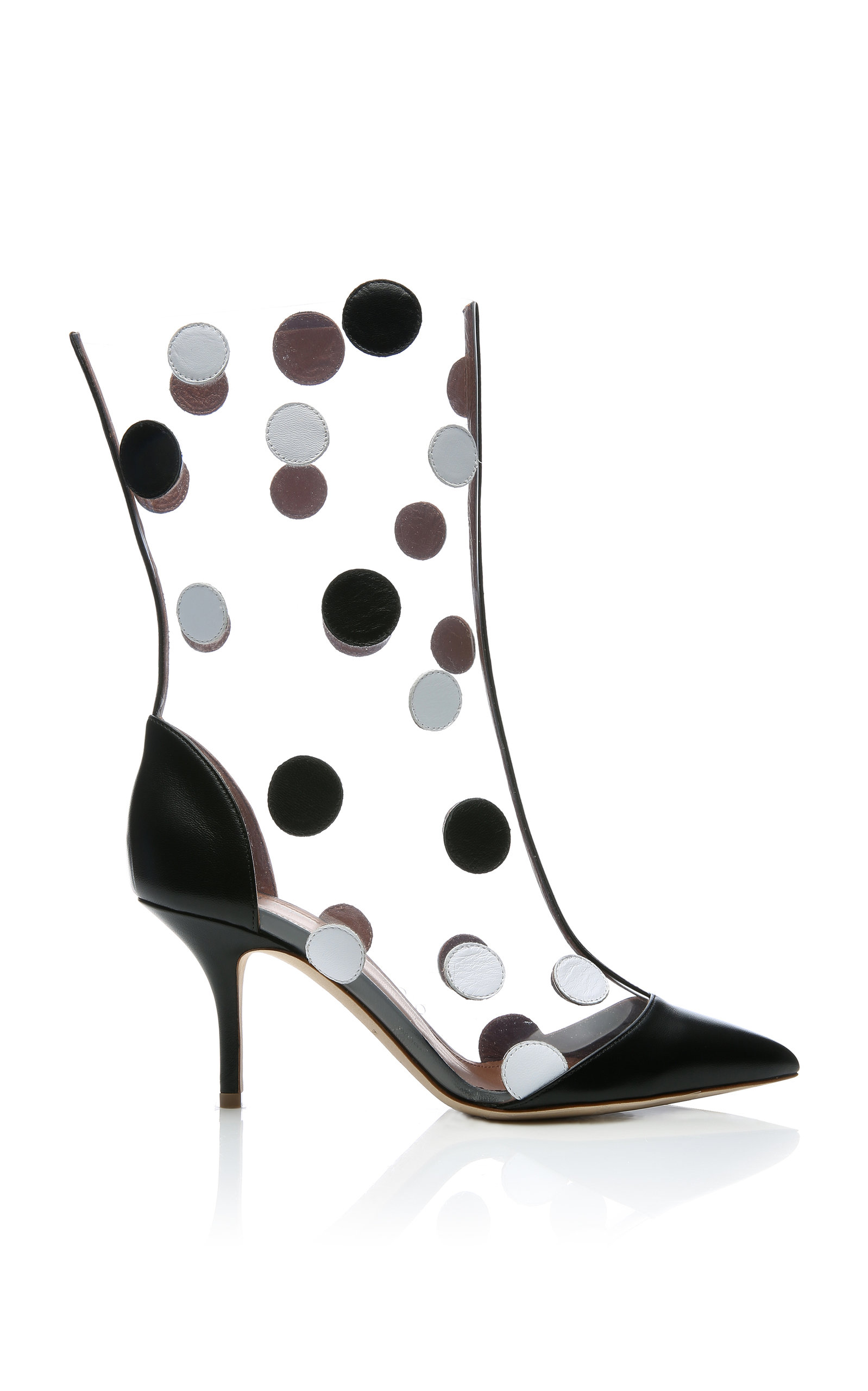 MALONE SOULIERS X EMANUEL UNGARO Katoucha Polka-Dot Leather And Pvc Boots in Black/White